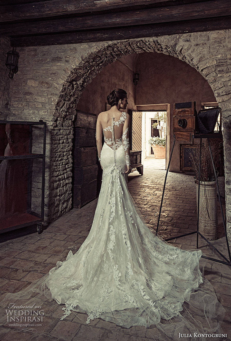 julia kontogruni 2017 bridal illusion long sleeves sweethart neckline bustier full embellishment sheath fit flare wedding dress illusion back chapel train (10) bv