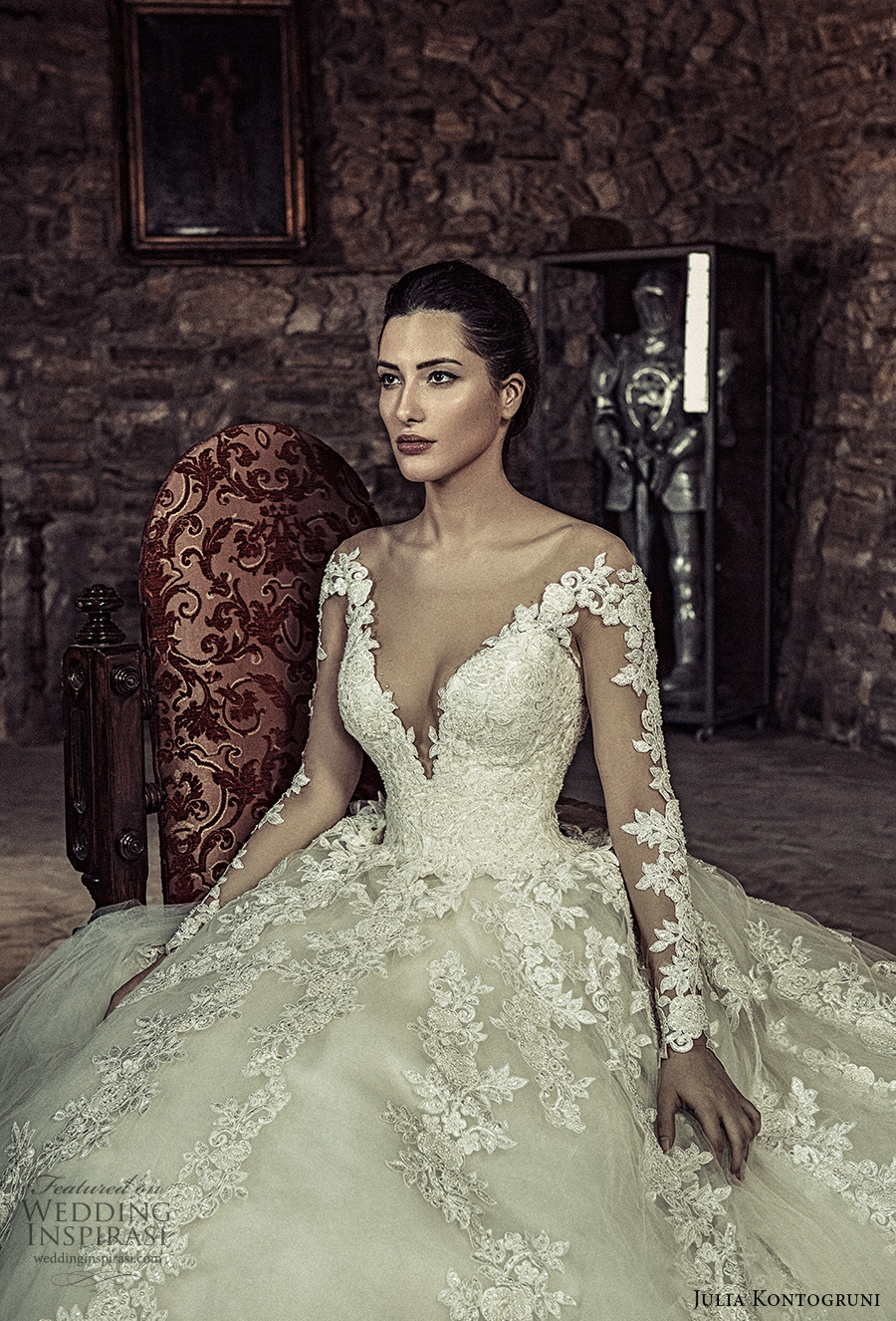 julia kontogruni 2017 bridal long sleeves deep v neckline heavily embellished bodice tulle skirt princess sexy ball gown wedding dress royal train (5) zv