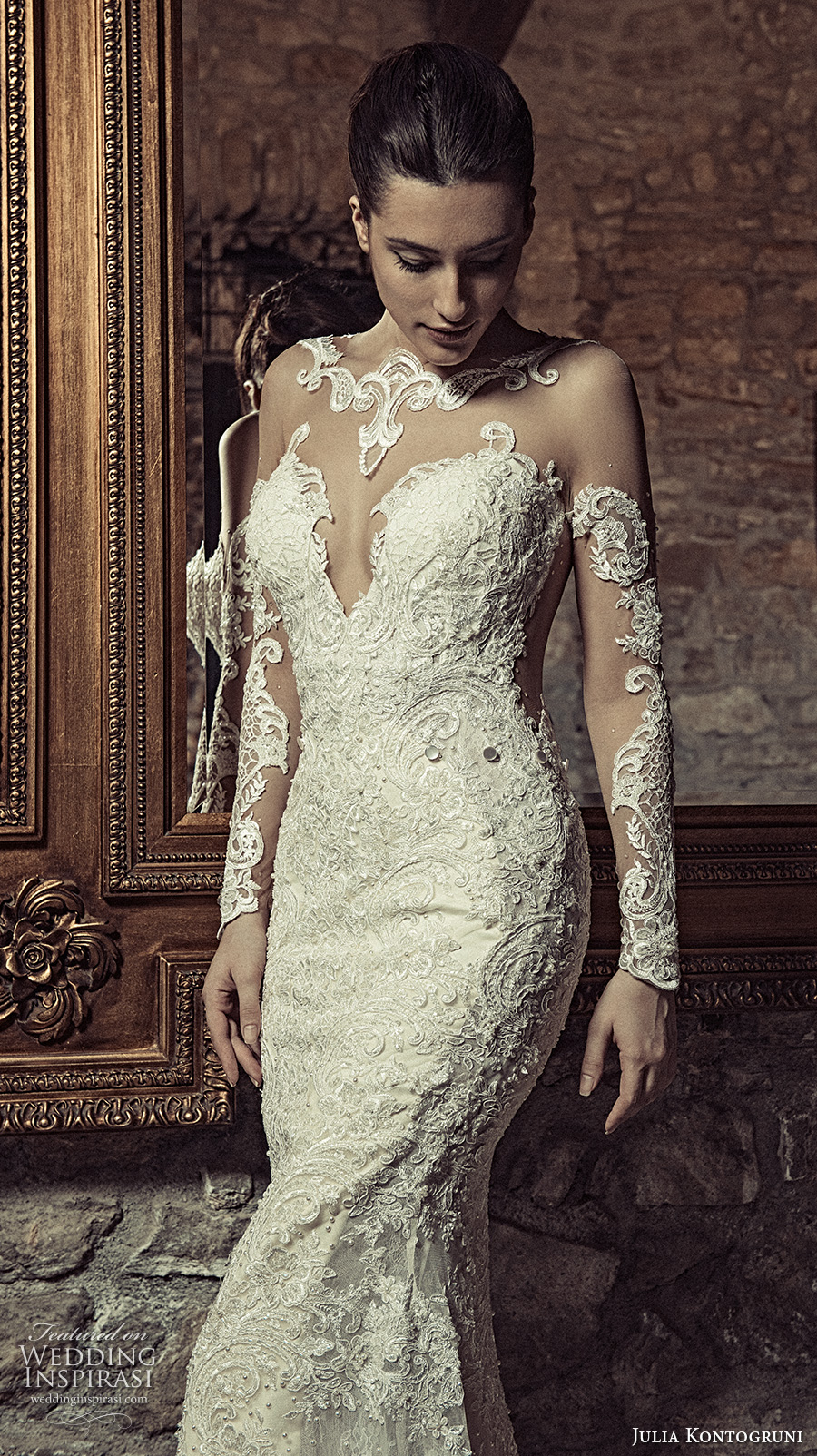 julia kontogruni 2017 bridal long sleeves illusion boat neck deep sweetheart neckline full embellishment sexy sophiscated sheath wedding dress racer back sweep train (6) zv