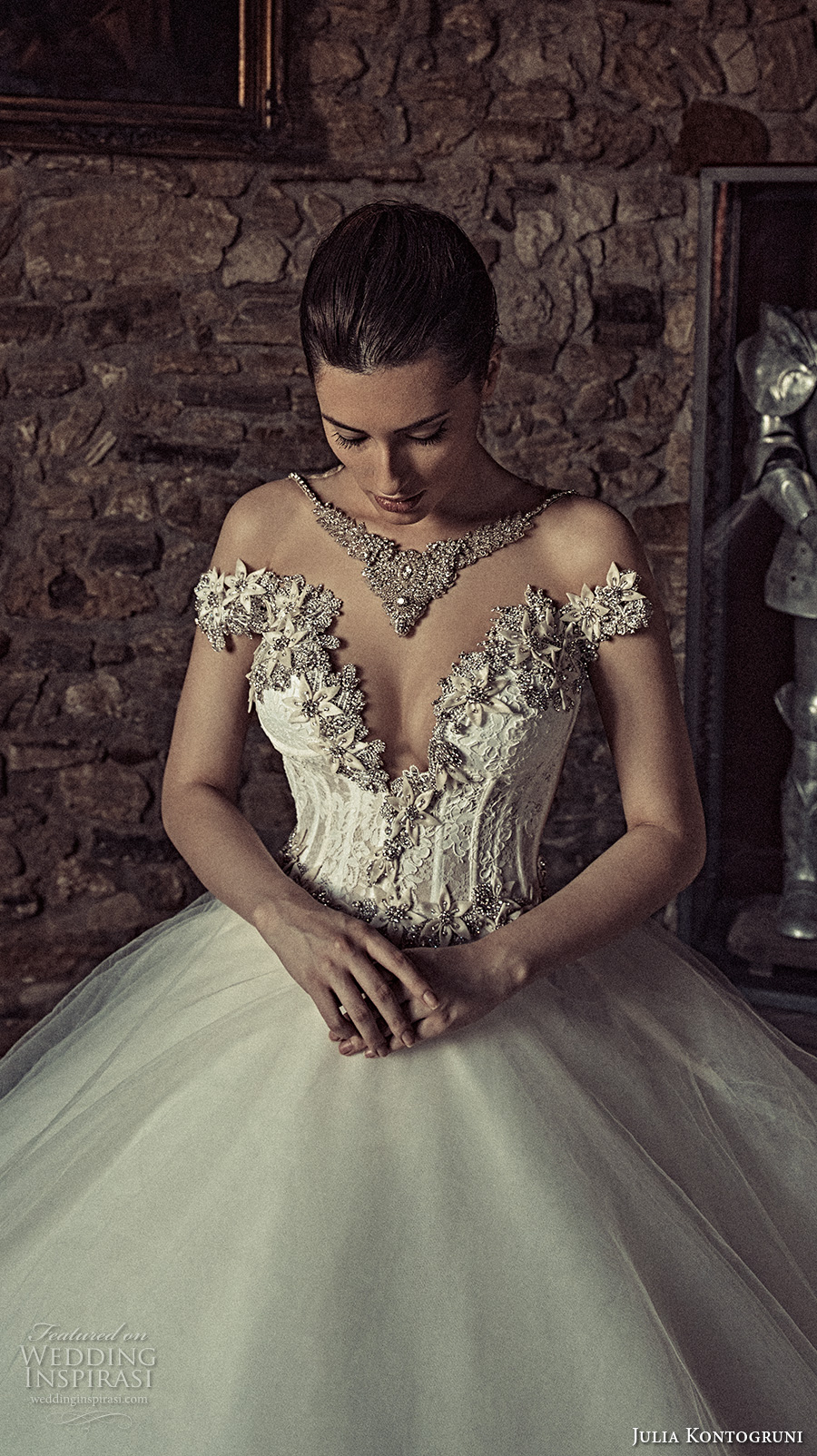 julia kontogruni 2017 bridal off the shoulder deep sweetheart neckline heavily embellished bodice corset tulle skirt princess ball gown beaded back long train (3) zv