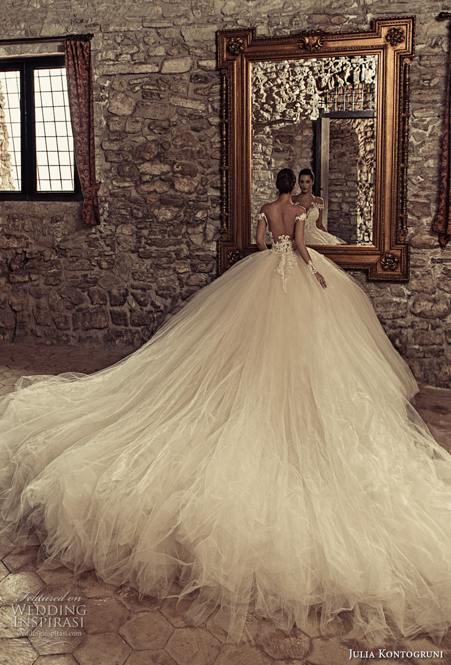 julia kontogruni 2017 bridal off the shoulders deep plunging sweetheart neckline heavily embellished bodice tulle skirt princess ball gown wedding dress low back monarch train (01) mv bv