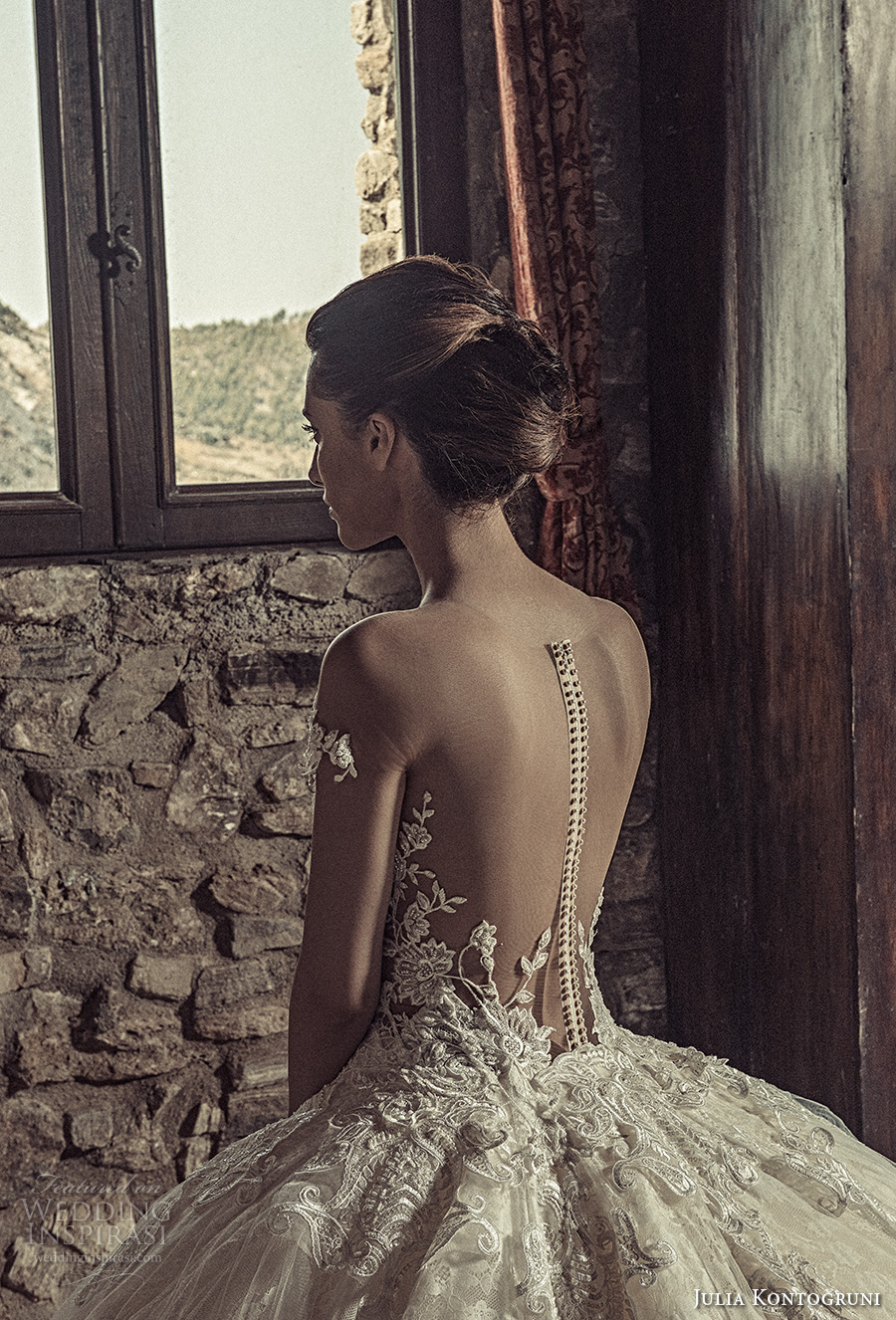 julia kontogruni 2017 bridal off the shoulders deep sweetheart neckline heavily embellished bodice princess glamorous ball gown wedding dress low back royal train (8) zbv