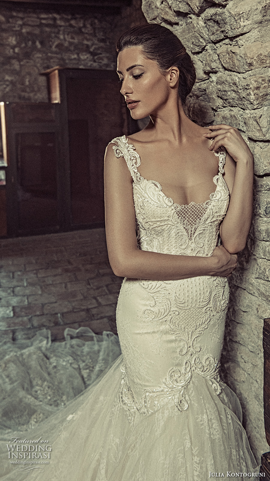 julia kontogruni 2017 bridal sleeveless strap deep v neck heavily embellished bodice glamorous elegant fit and flare wedding dress low back long train (9) zv