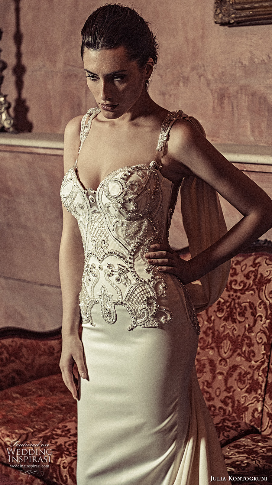 julia kontogruni 2017 bridal sleeveless strap sweetheart neckline bustier heavily embellished bodice glamorous elegant sheath wedding dress illusion back long train (16) zv