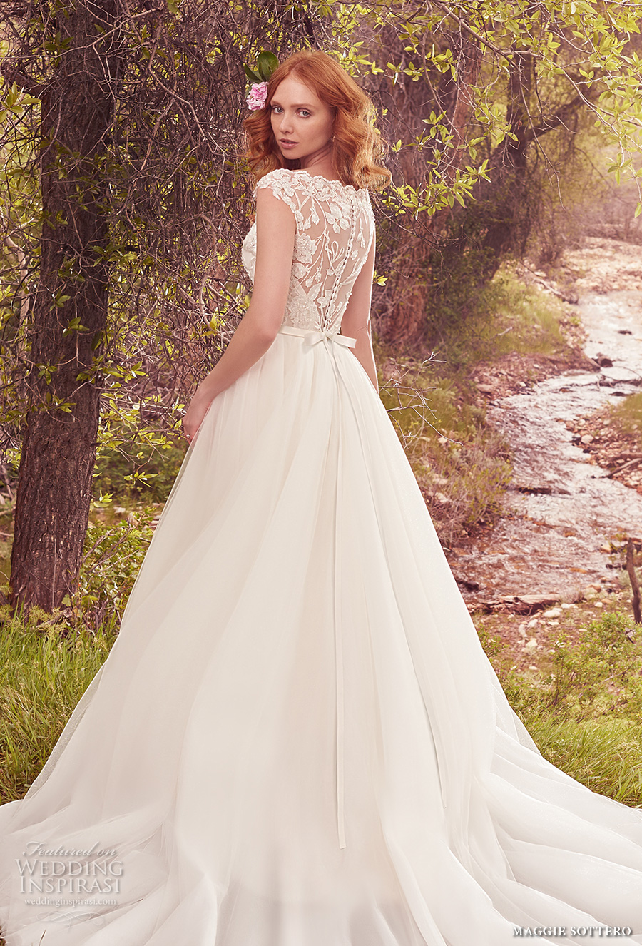 maggie sottero spring 2017 bridal cap sleeves bateau neck full embellishment princess a  line wedding dress overskirt illusion back chapel train (gretchen) bv