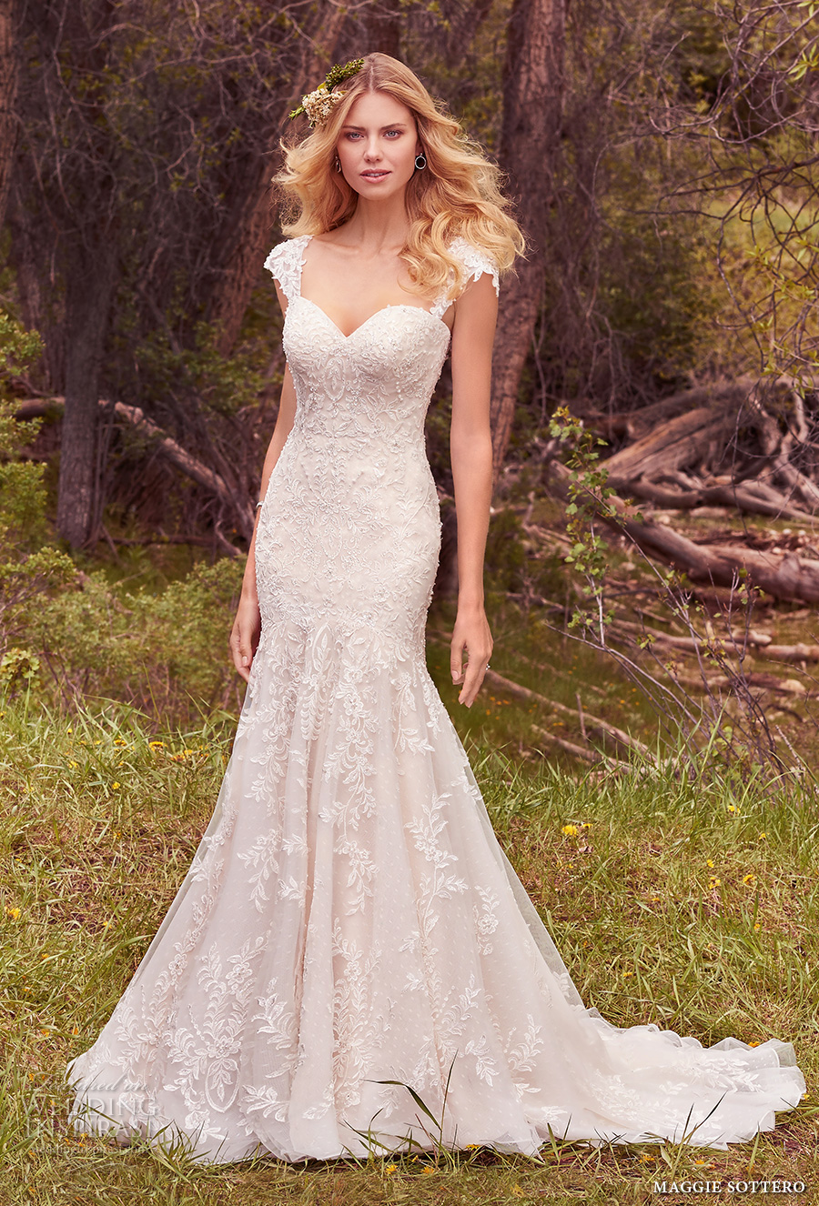 maggie sottero spring 2017 bridal detachable cap sleeves sweetheart neckline full embellishment fit and flare wedding dress corset strap chapel train (larissa) mv