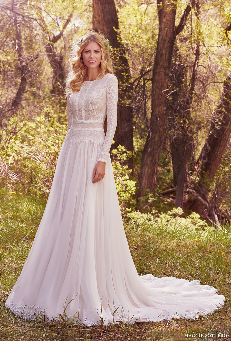maggie sottero spring 2017 bridal long sleeves jewel neckline heavily embellished bodice conservative bohemian modified a line wedding dress full back chapel train (deirdre marie) mv