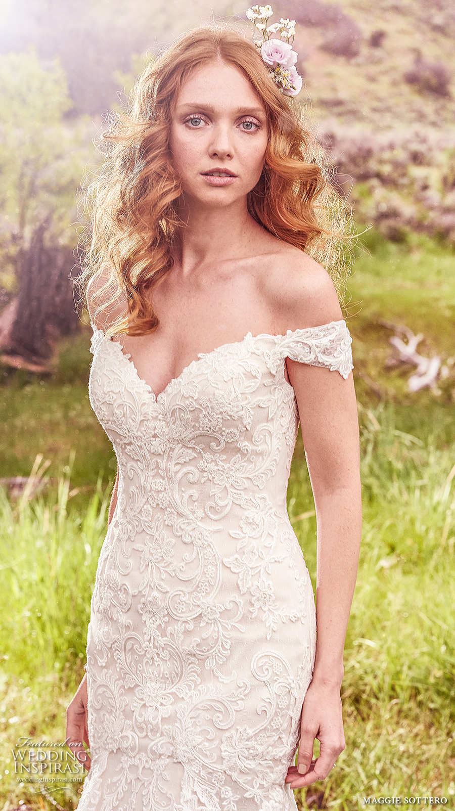 maggie sottero spring 2017 bridal off the shoulder sweetheart neckline heavily embellished bodice elegant fit and flare mermaid wedding dress v back sweep train (afton) zv