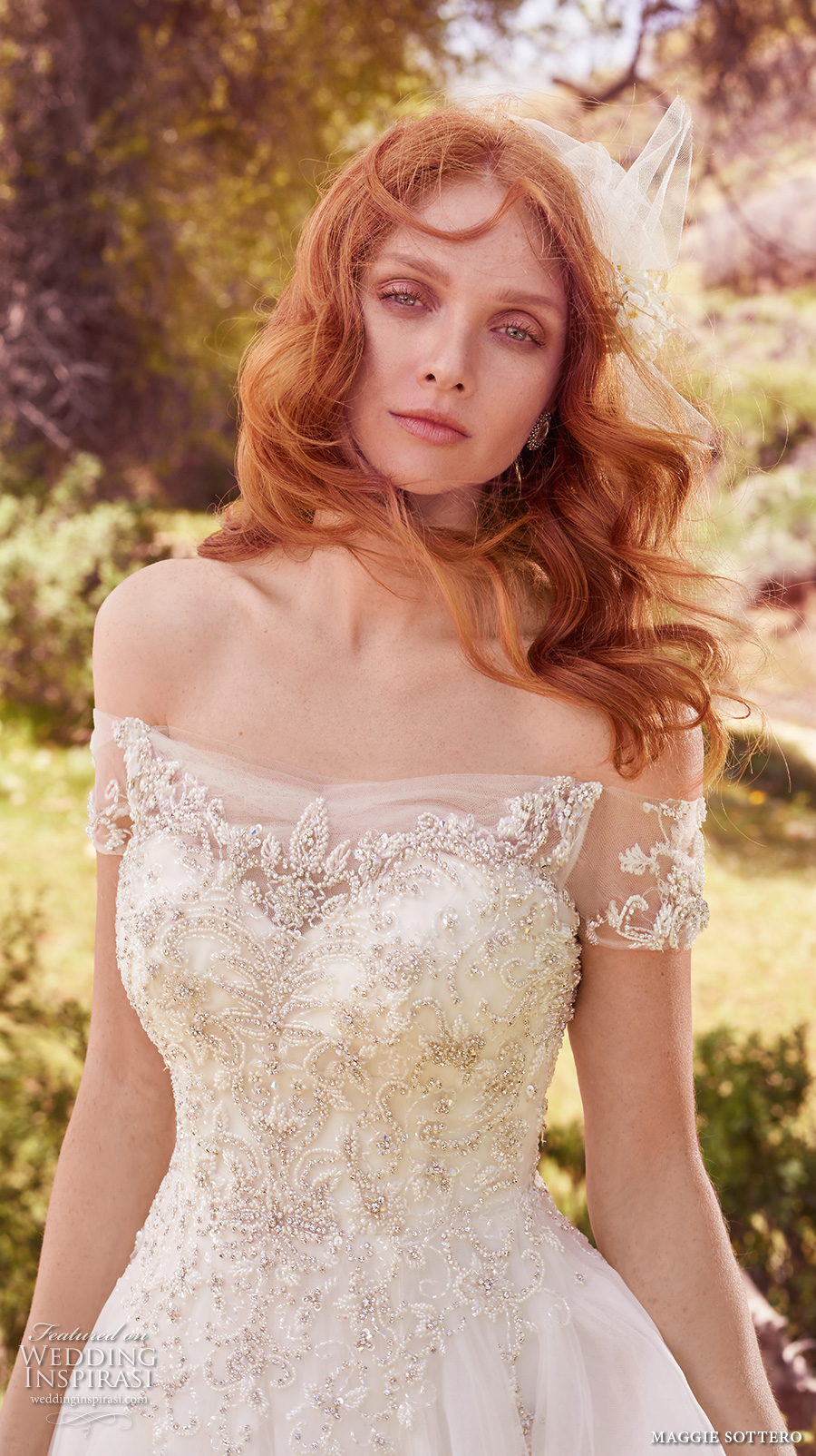 maggie sottero spring 2017 bridal off the shoulder wrap sweetheart neckline heavily embellished bodice romantic princess a  line wedding dress chapel train (iris) zv