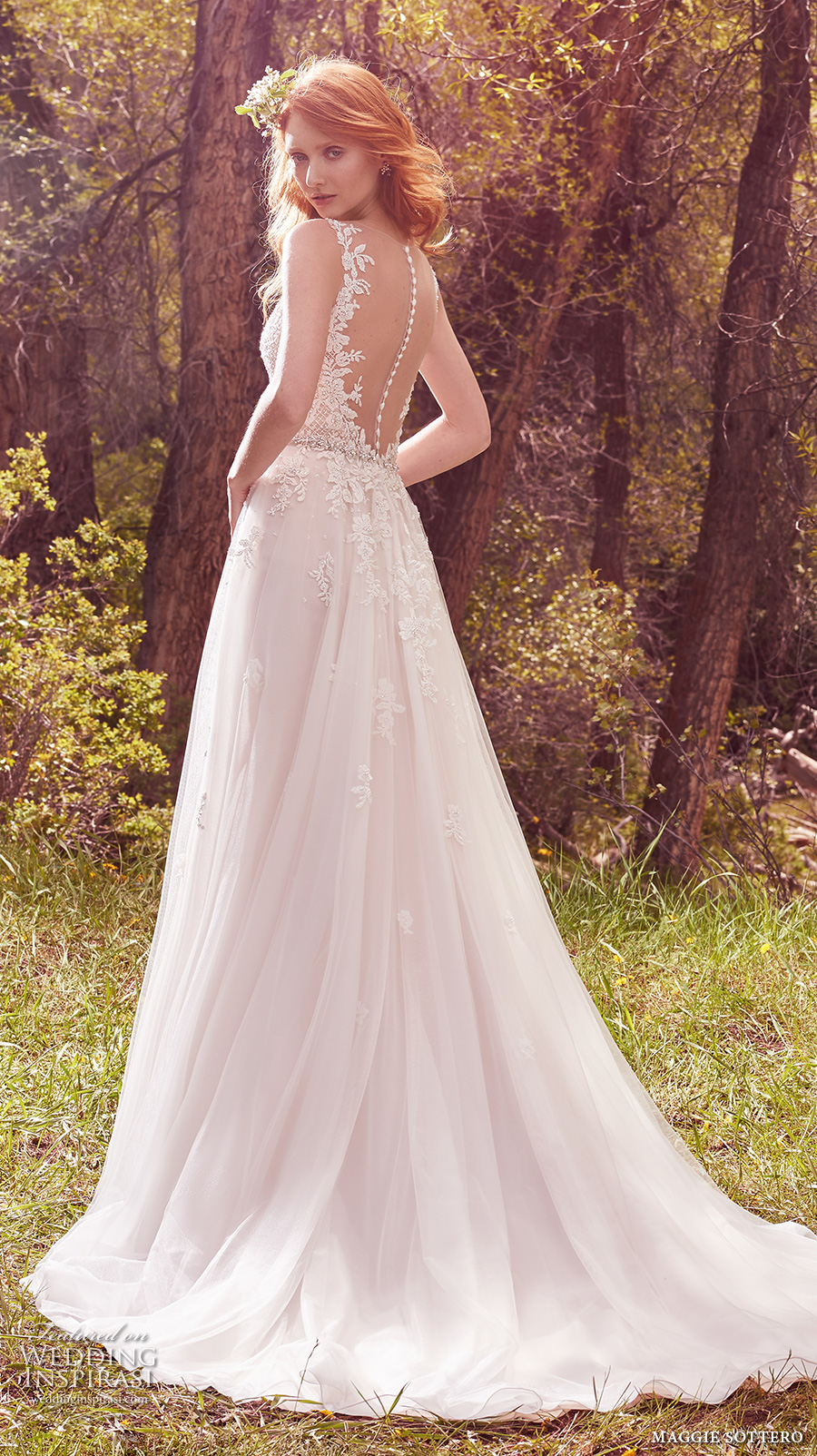 maggie sottero spring 2017 bridal sleeveless strap v neck heavily embellished bodice romantic tulle skirt a  line wedding dress low back chapel train (avery) bv