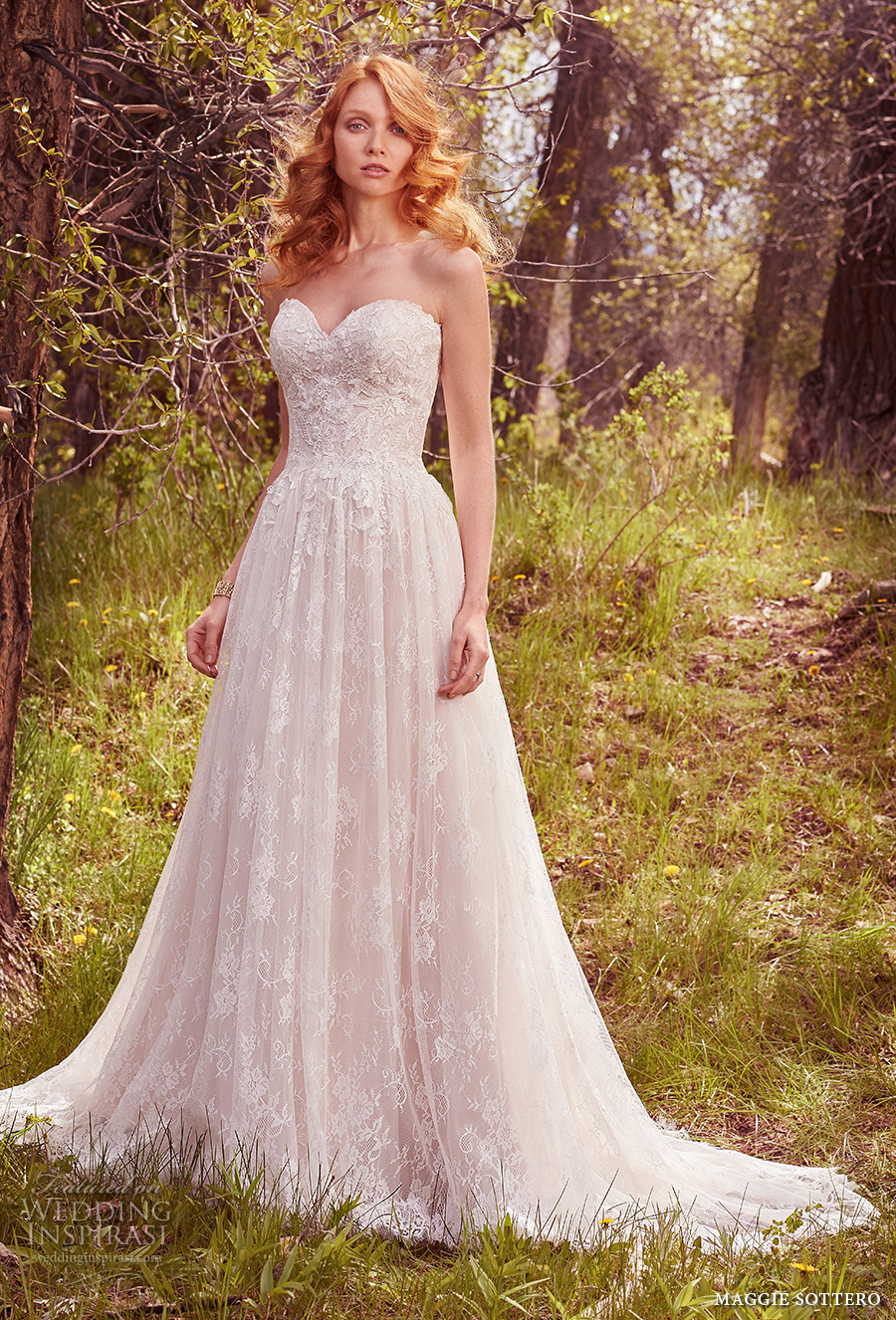 maggie sottero spring 2017 bridal strapless sweetheart neckline full embellishment romantic a line wedding dress chapel train (rylie) mv
