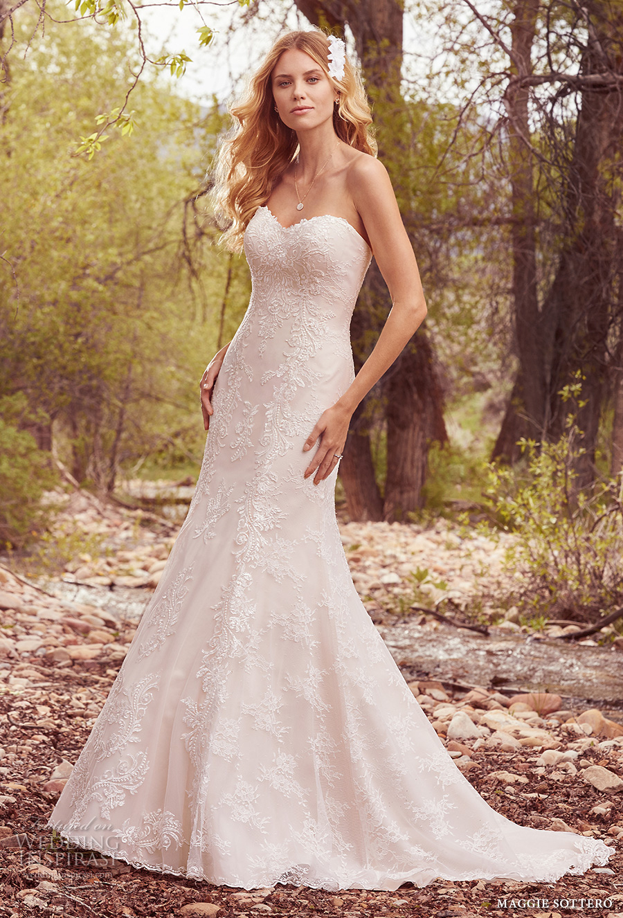 Maggie Sottero Spring 2017 Bridal Strapless Sweetheart Neckline Full Embellishment Trumpet Wedding Dress Chapel Train