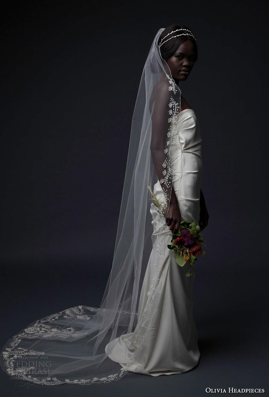 olivia headpieces fall 2016 veils  embroidered hem chapel veil (octavia) mv
