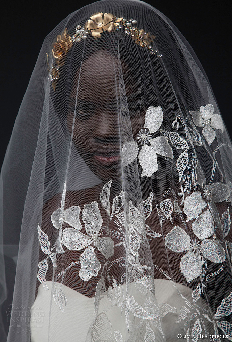 olivia headpieces fall 2016 veils floral half embroidered chapel veil (abbott) zv