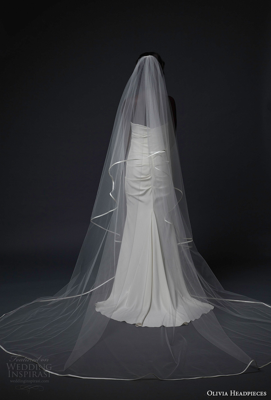 olivia headpieces fall 2016 veils single satin trim cathedral veil (covent) mv