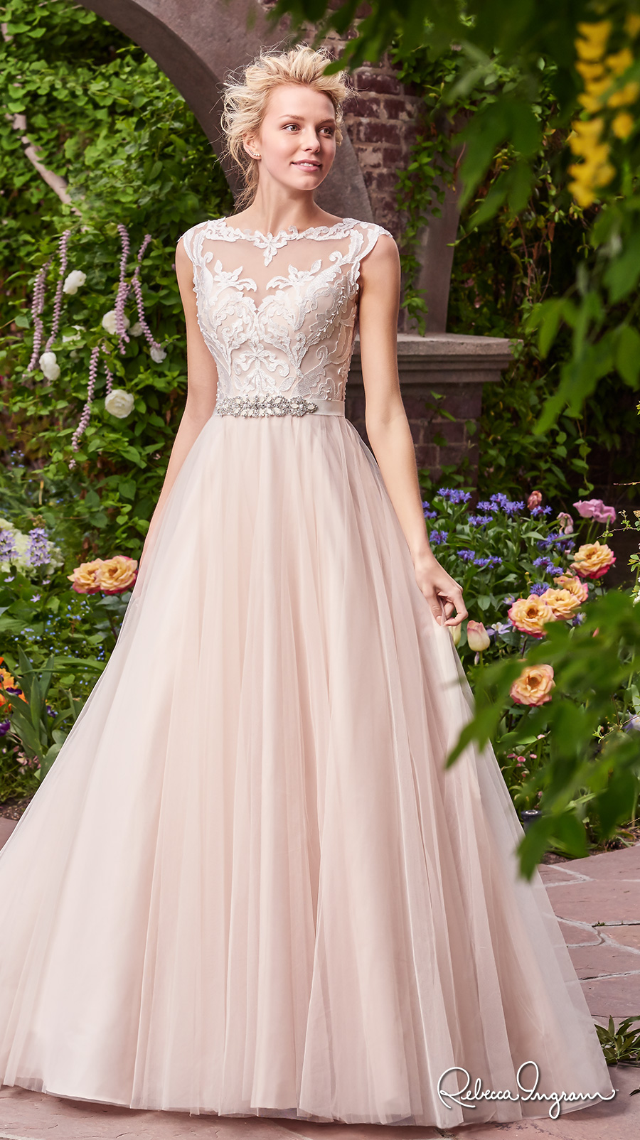rebecca ingram 2017 bridal cap sleeves illusion bateau neckline heavily embellished bodice ivory color romantic illusion back chapel train (carrie) mv