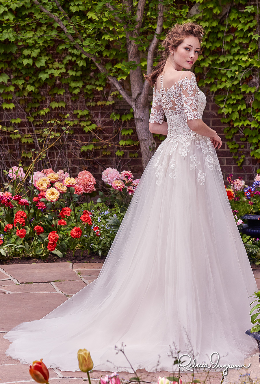 rebecca ingram 2017 bridal half sleeves illusion jewel straight across neckline heavily embellished bodice romantic princess ball gown a  line wedding dress lace back chapel train (yvonne) bv