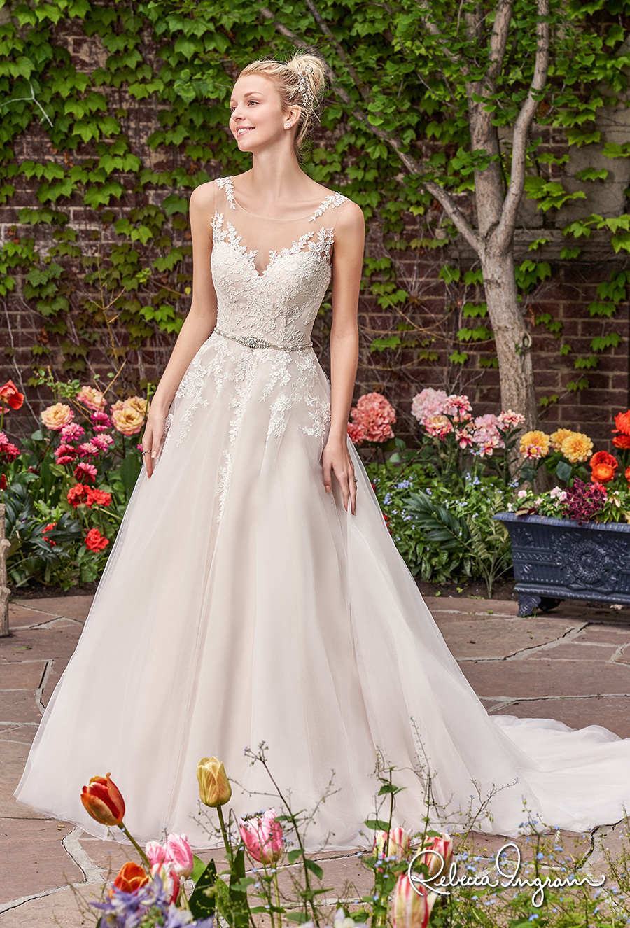 rebecca ingram 2017 bridal sleeveless illusion jewel sweetheart necline heavily embellished bodice blush color illusion back chapel train (olivia) mv