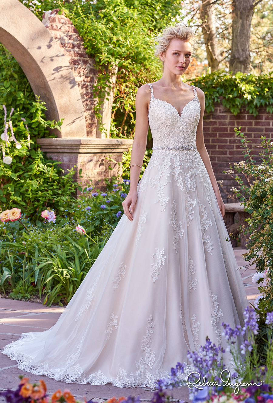 rebecca ingram 2017 bridal sleeveless thin strap sweetheart neckline heavily embellished bodice romantic a  line wedding dress scoop back chapel train (allison) mv