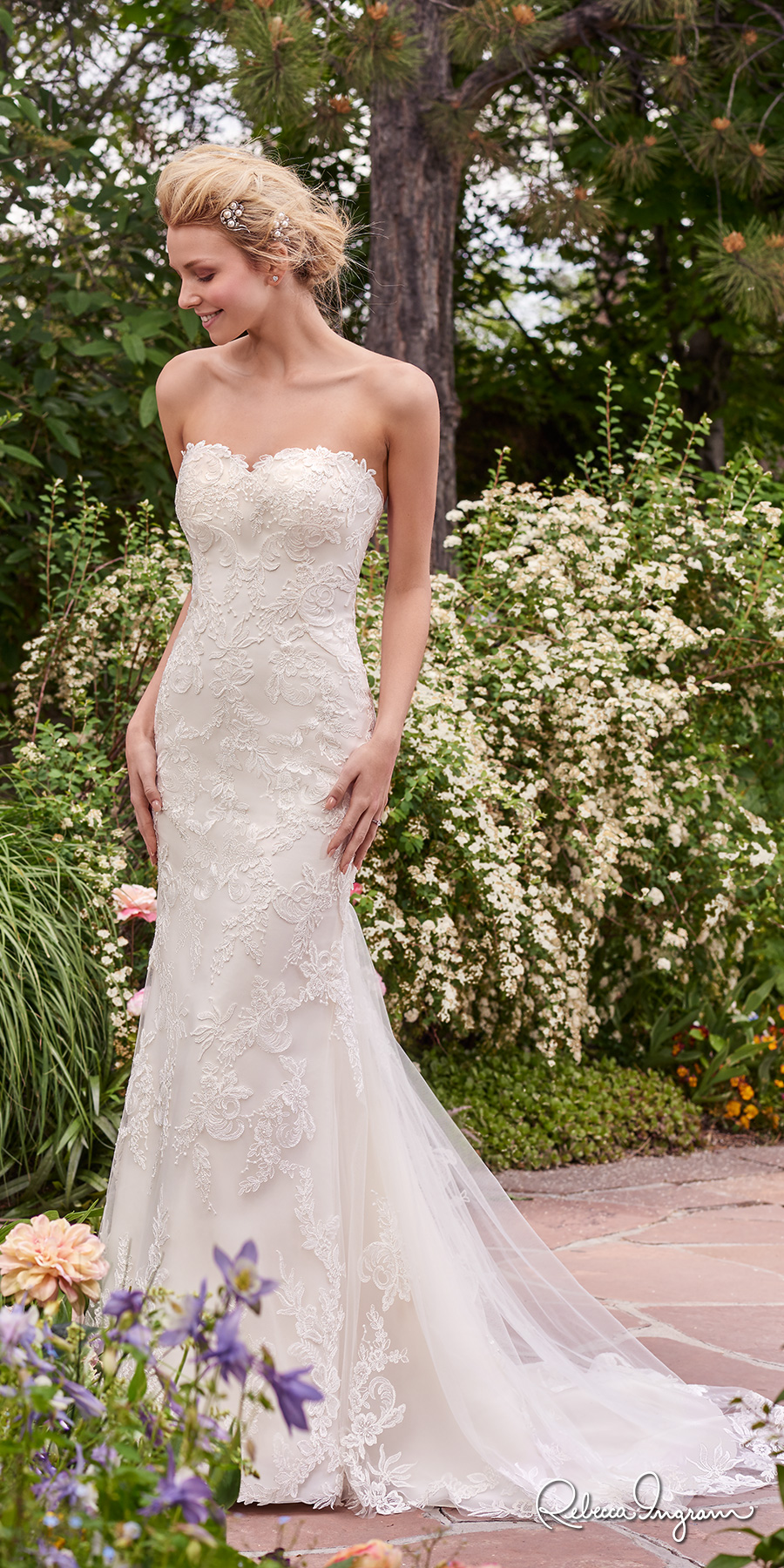 rebecca ingram 2017 bridal strapless sweetheart neckline full embellishment elegant romantic sheath wedding dress sweep train (sandra) mv