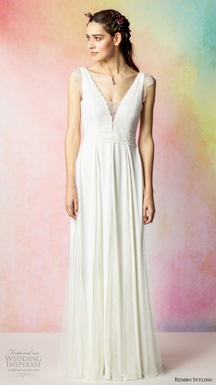 rembo styling 2017 bridal lace cap sleeves deep v neck simple grecian column a  line wedding dress v back sweep train (faune) mv