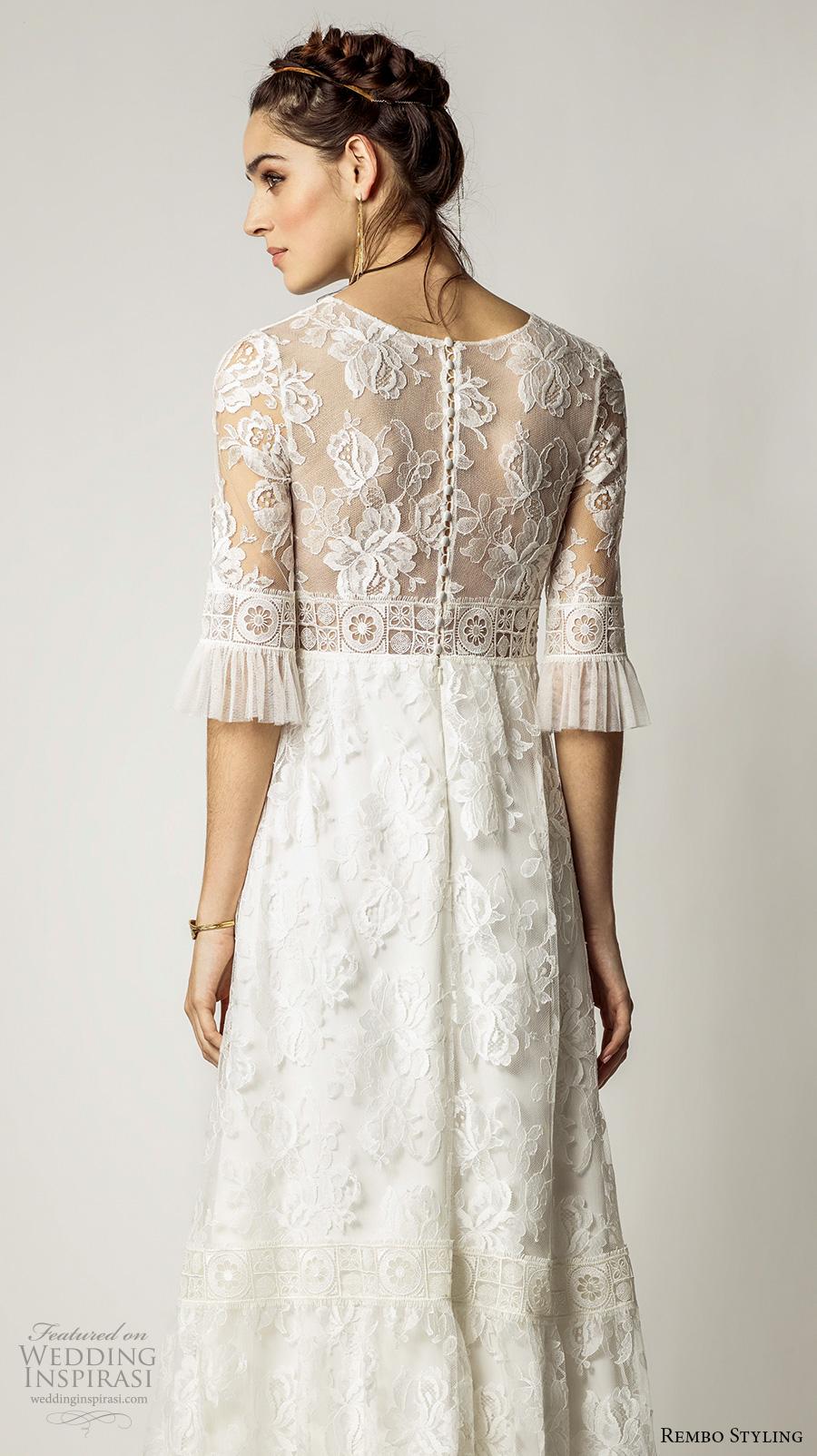 rembo styling 2017 bridal lace half sleeves v neck full embellishment bohemian vintage sheath wedding dress lace back sweep train (alberta) bv