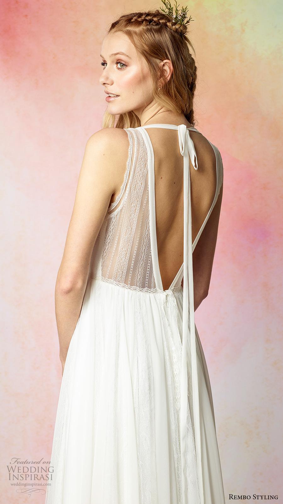 rembo styling 2017 bridal sleeveless v neck simple bohemian romantic column a  line wedding dress low v back (feeling) zbv