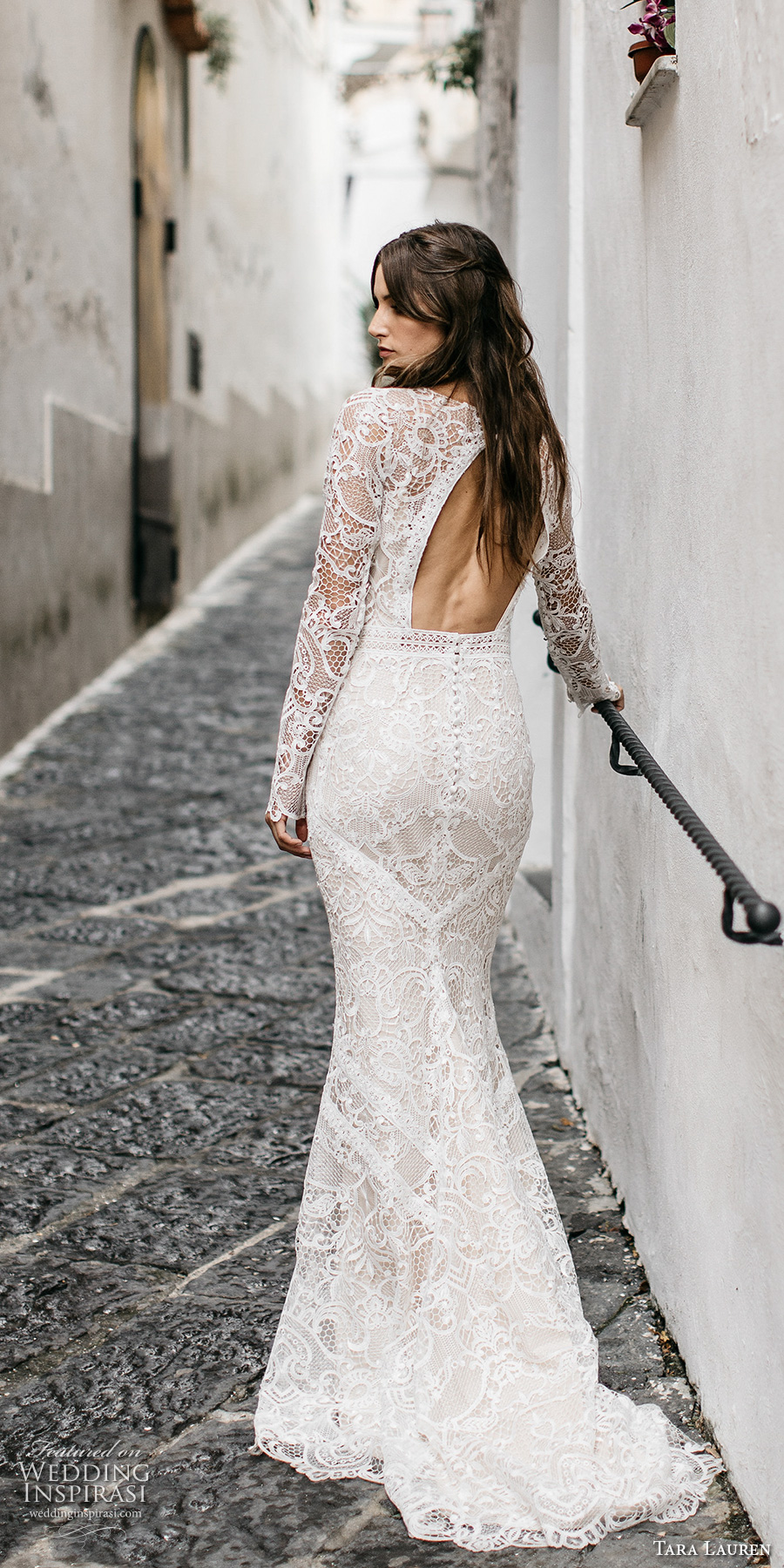 tara lauren spring 2017 bridal long sleeves jewel neck full embroidered elegant bohemian lace trumpet sheath wedding dress keyhole back short train (felix) bv
