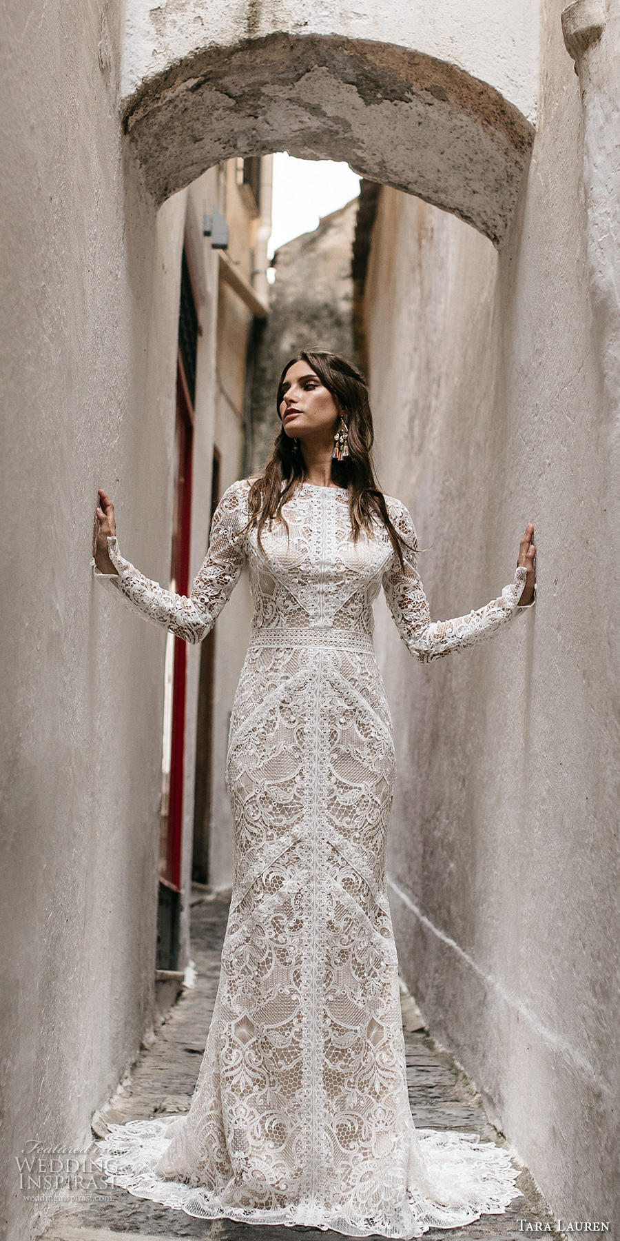 tara lauren spring 2017 bridal long sleeves jewel neck full embroidered elegant bohemian lace trumpet sheath wedding dress keyhole back short train (felix) mv
