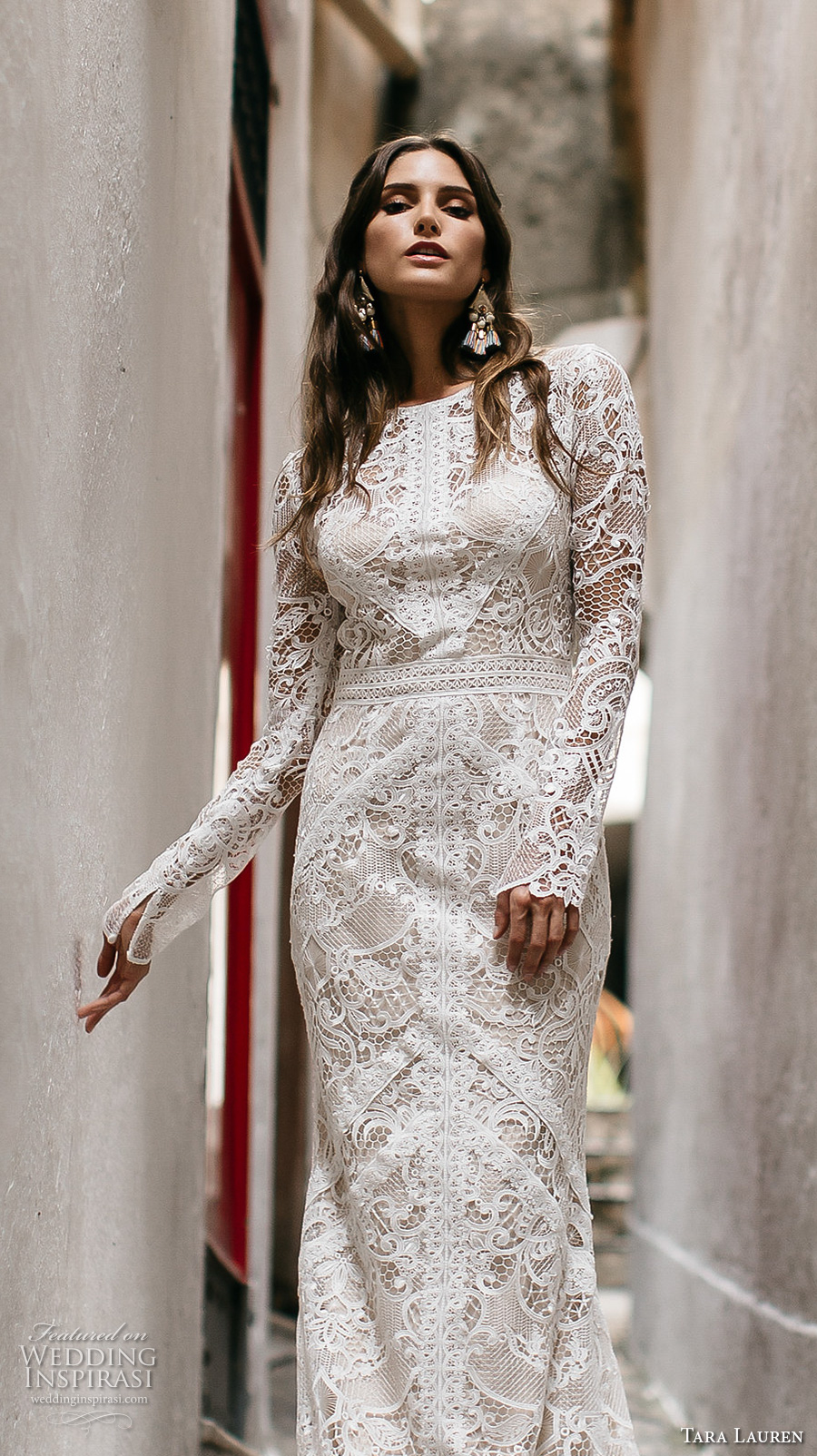 tara lauren spring 2017 bridal long sleeves jewel neck full embroidered elegant bohemian lace trumpet sheath wedding dress keyhole back short train (felix) zv