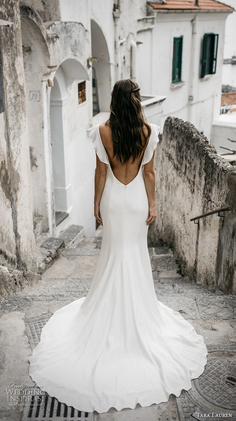 tara lauren spring 2017 bridal short butterfly sleeves bateau neck simple clean bodice elegant trumpet sheath wedding dress low back chapel train (camille) bv