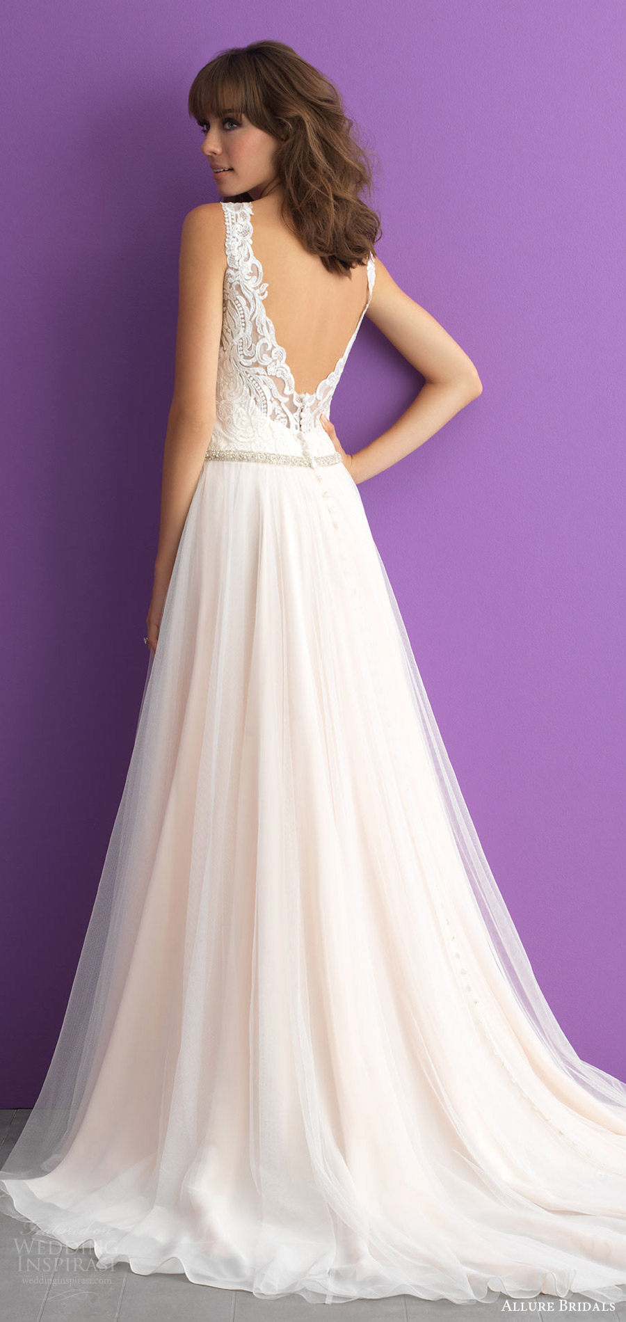 allure bridals spring 2017 (3014) sleeveless sweetheart straps lace bodice soft a line wedding dress bv