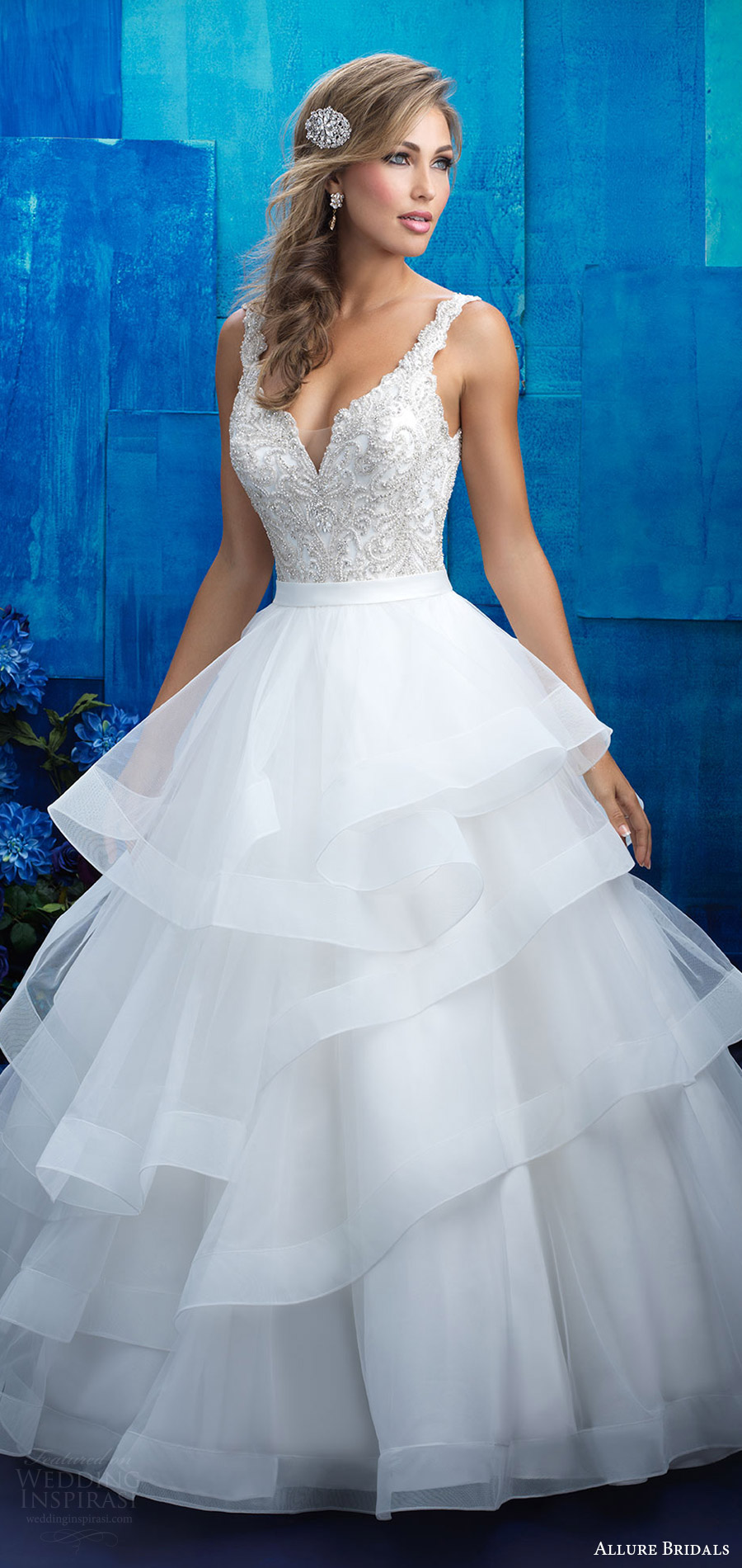 allure bridals spring 2017 (9418) sleeveless deep v neck beaded bodice tiered skirt ball gown wedding dress mv