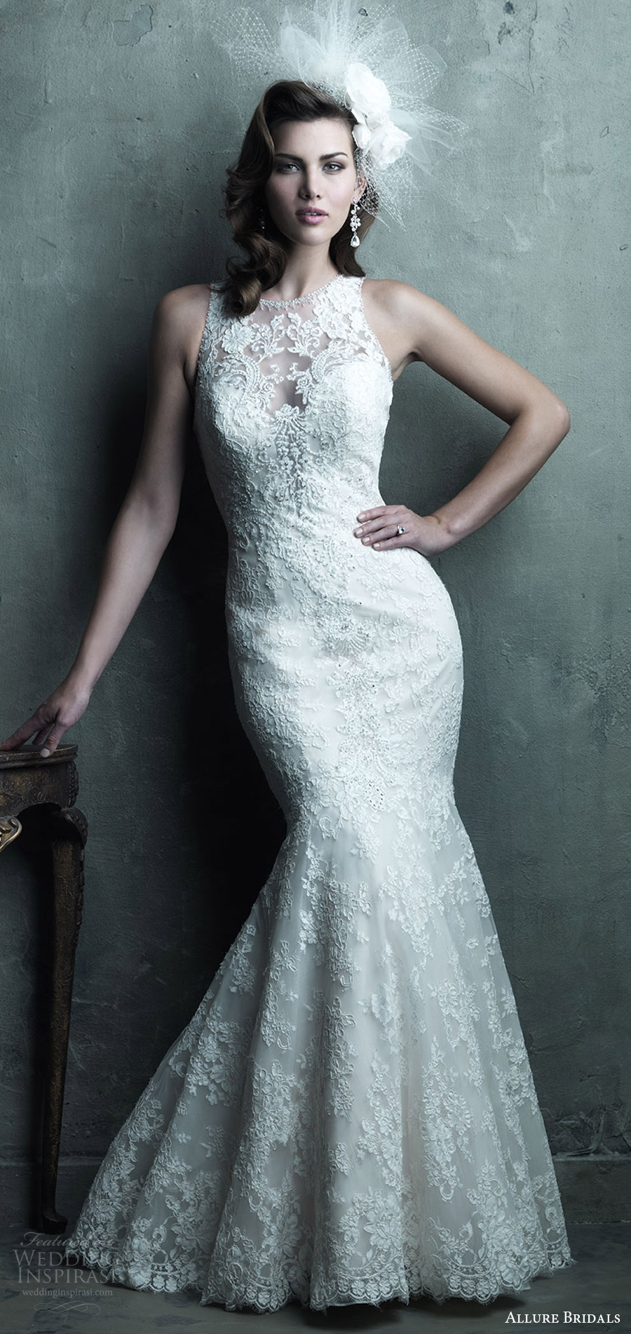 allure couture spring 2017 (C280) sleeveless sweetheart illusion jewel mermaid lace wedding dress mv