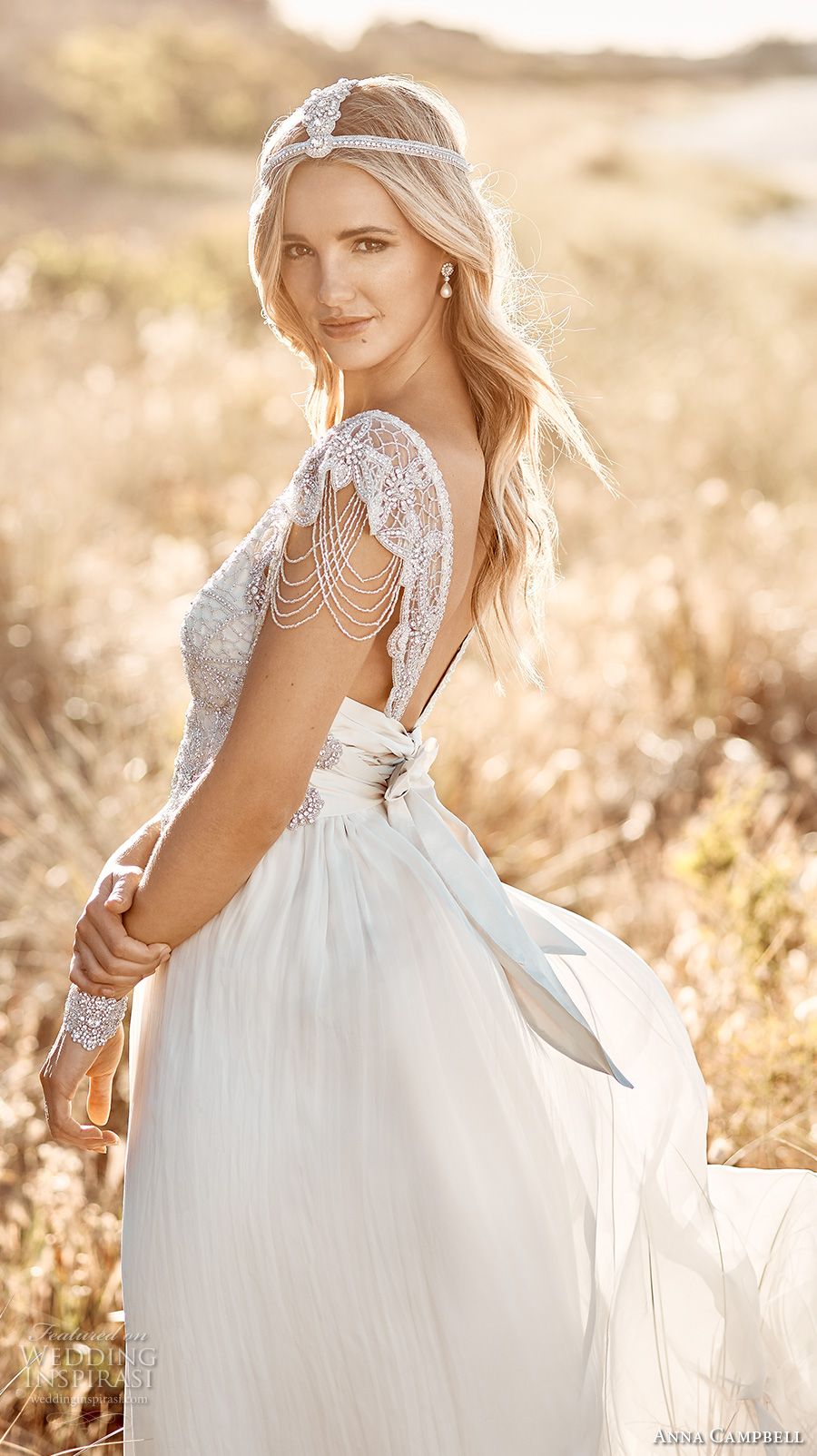 Anna Campbell 2017 Bridal Cap Sleeves Scoop Neck Heavily Embellished Bodice Bohemian Empire Wedding Dress