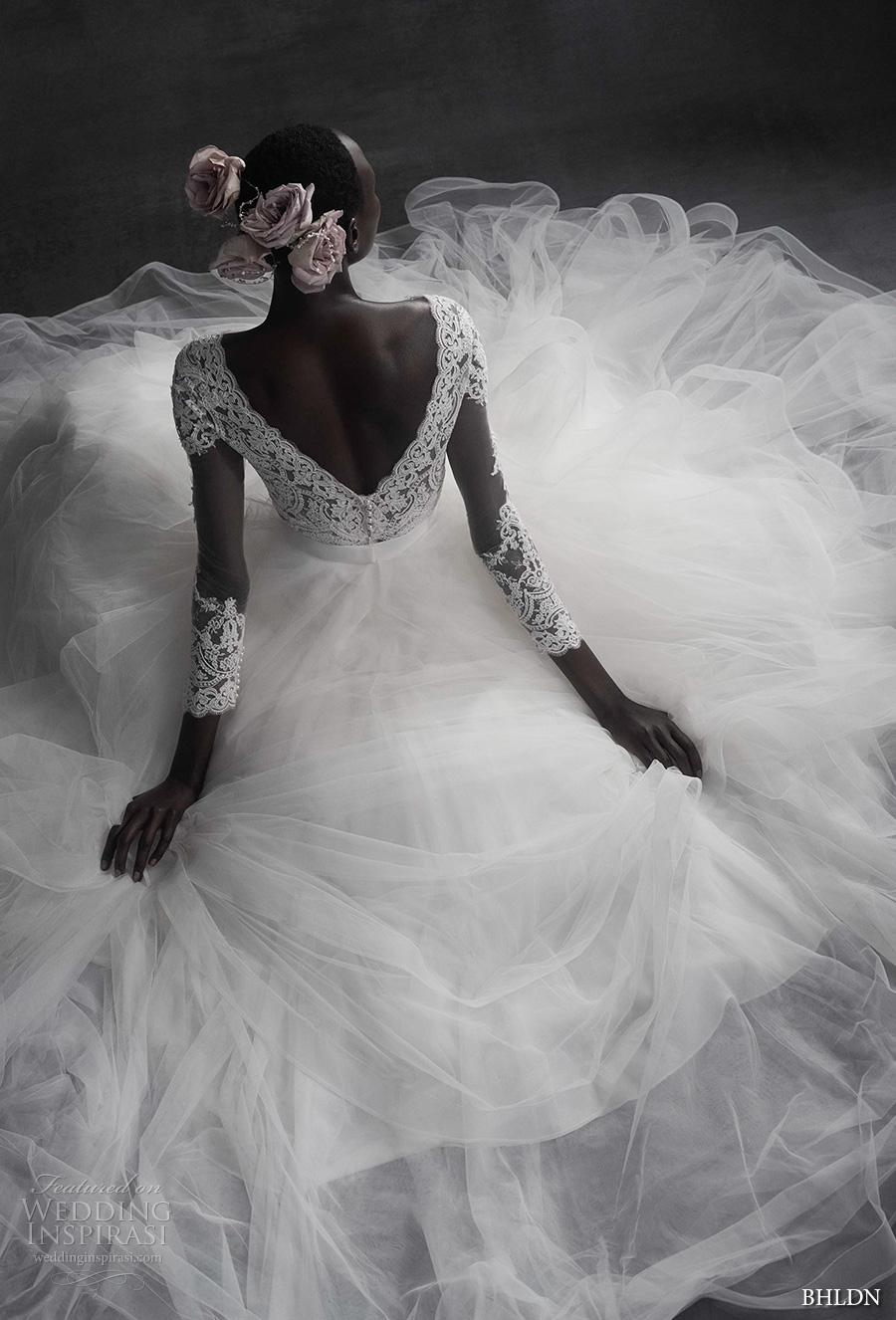 bhldn spring 2017 bridal long sleeves v neck heavily embroidered lace bodice tulle skirt romantic elegant a  line wedding dress open v back sweep train (rhea top amora skirt) bv mv