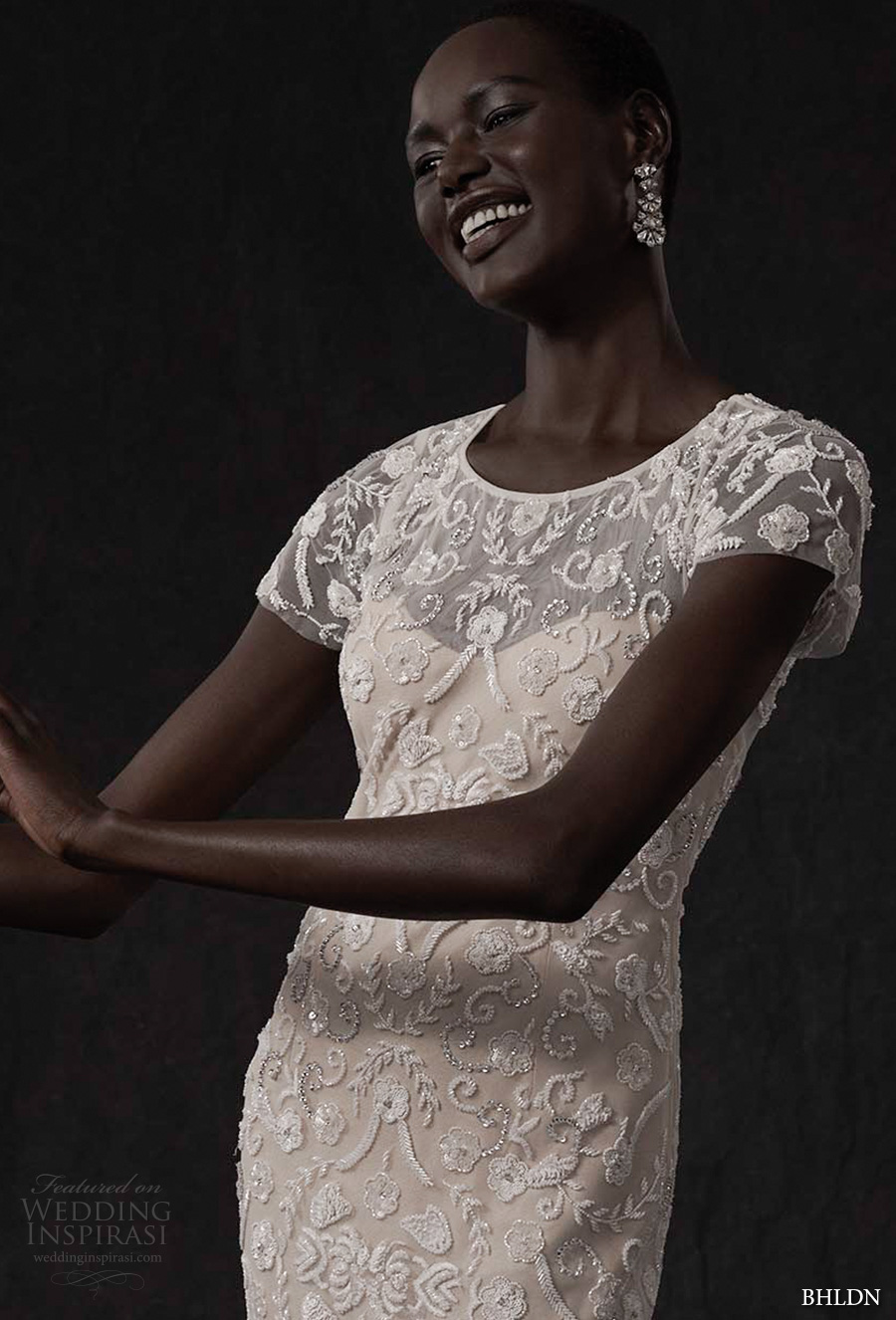 bhldn spring 2017 bridal short sleeves jewel neck full embellishment elegant column wedding dress keyhole back (essex) zv mv