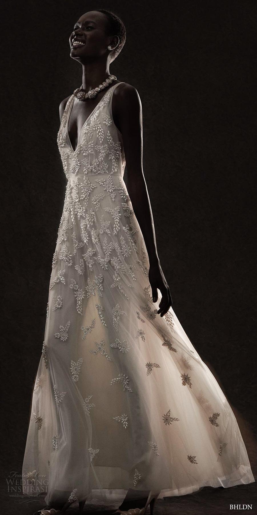 bhldn spring 2017 bridal sleeveless deep v neck heavily embellished bodice champagne romantic modified a  line wedding dress open v back (kai) mv
