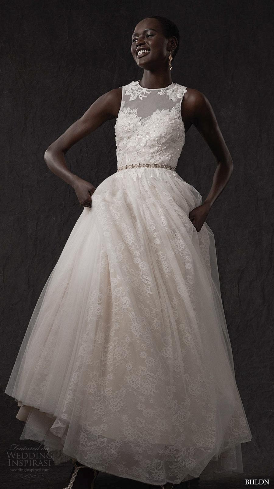 bhldn spring 2017 bridal sleeveless illuson jewel sweetheart neckline heavily embellished bodice romantic princess a  line wedding dress covered lace back (carissa) mv