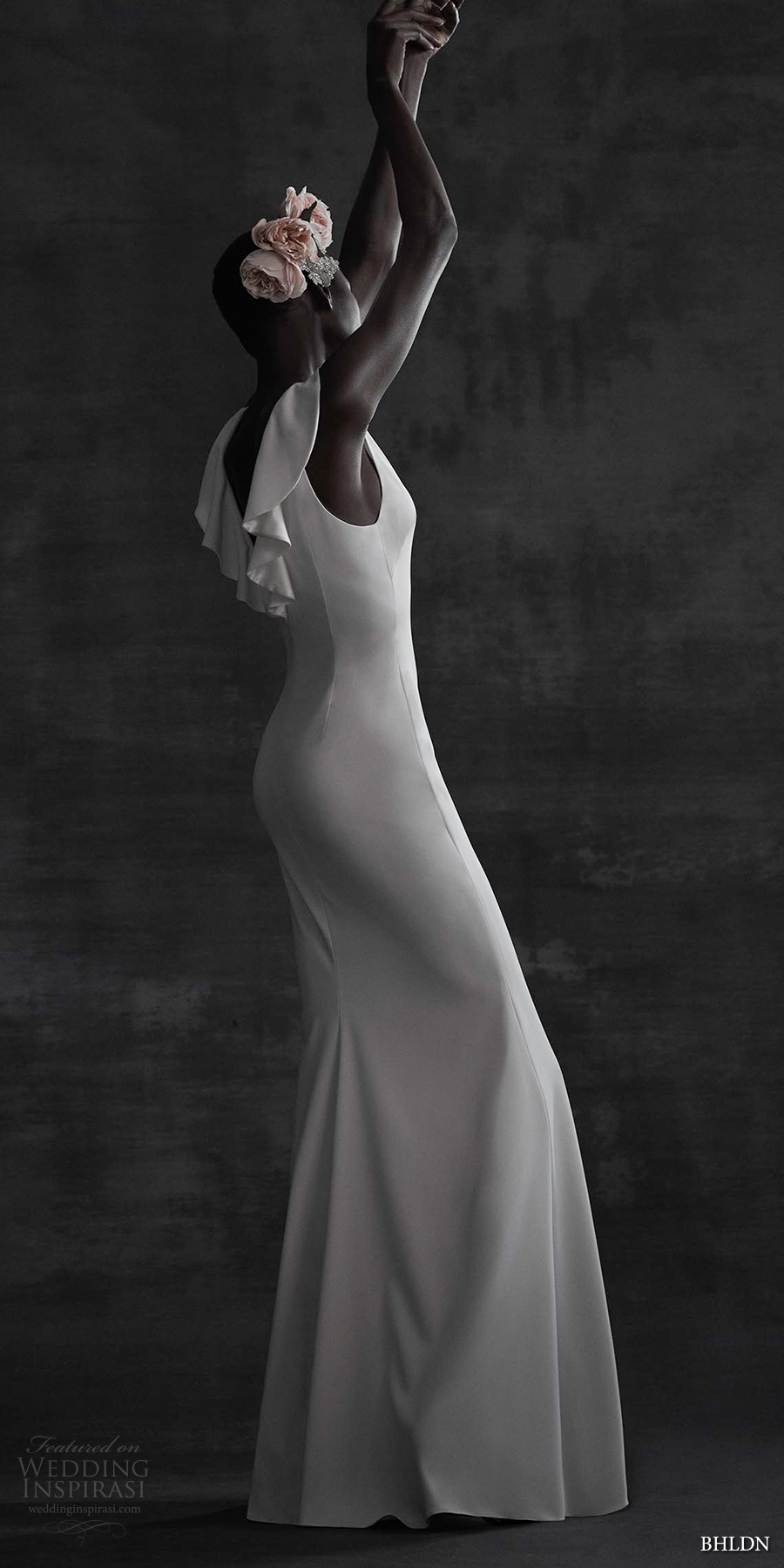 bhldn spring 2017 bridal sleeveless jewel neck butterfly sleeves clean elegant column sheath wedding dress cowl back sweep train (heather) bv mv
