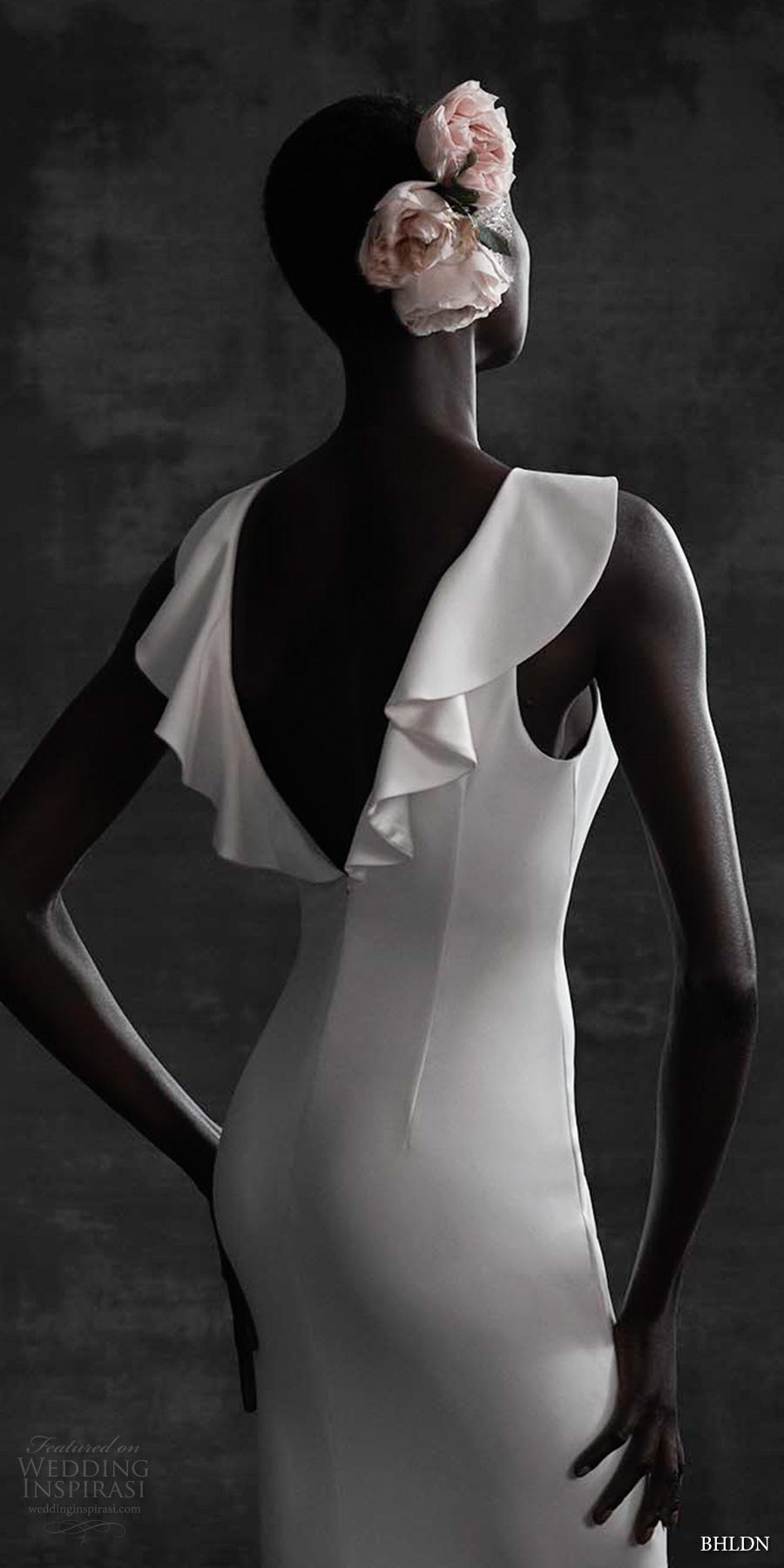 bhldn spring 2017 bridal sleeveless jewel neck butterfly sleeves clean elegant column sheath wedding dress cowl back sweep train (heather) zbv