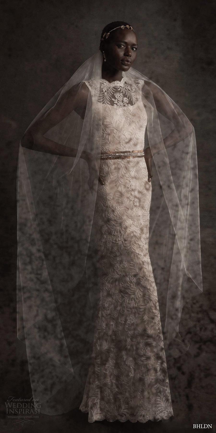 bhldn spring 2017 bridal sleeveless lace illusion jewel scoop neckline full embellishment lace ivory elegant sheath wedding dress keyhole back (april) mv