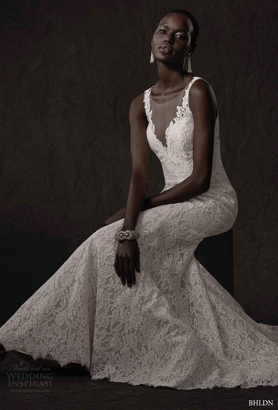 bhldn spring 2017 bridal sleeveless lace strap v neck full embellishement lace elegant fit and flare wedding dress sheer low back chapel train (carson) mv
