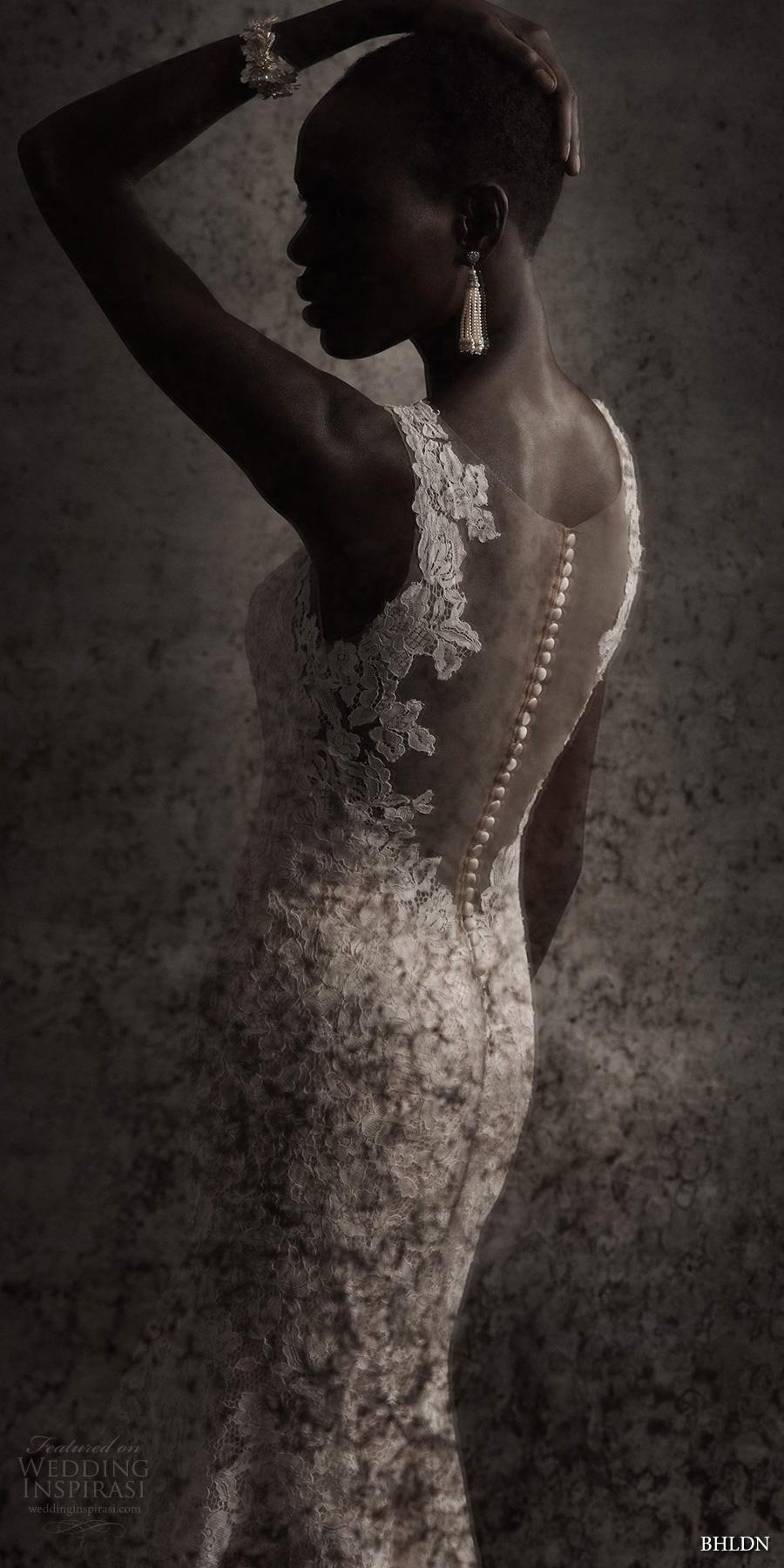 bhldn spring 2017 bridal sleeveless lace strap v neck full embellishement lace elegant fit and flare wedding dress sheer low back chapel train (carson) zbv