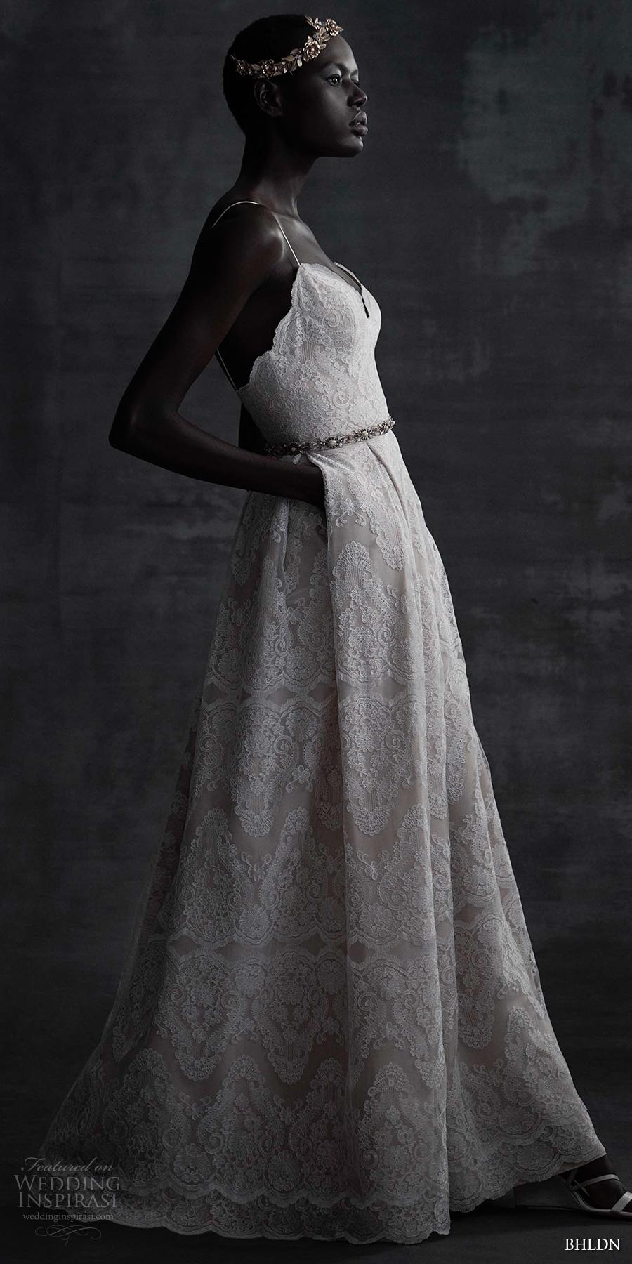 bhldn spring 2017 bridal sleeveless spagetti strap sweetheart neckline full embellishment lace romantic bohemian modified a  line wedding dress open back (helena) sdv mv