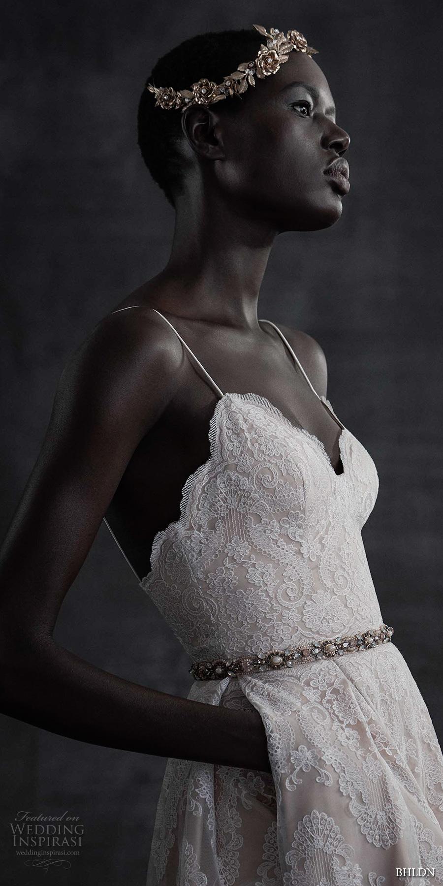 bhldn spring 2017 bridal sleeveless spagetti strap sweetheart neckline full embellishment lace romantic bohemian modified a  line wedding dress open back (helena) sdv zsdv