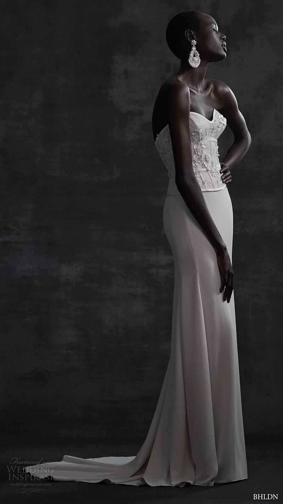 bhldn spring 2017 bridal strapless sweetheart neckline heavily embellished bodice corset elegant column wedding dress sweep train (maryna corset sade skirt) mv
