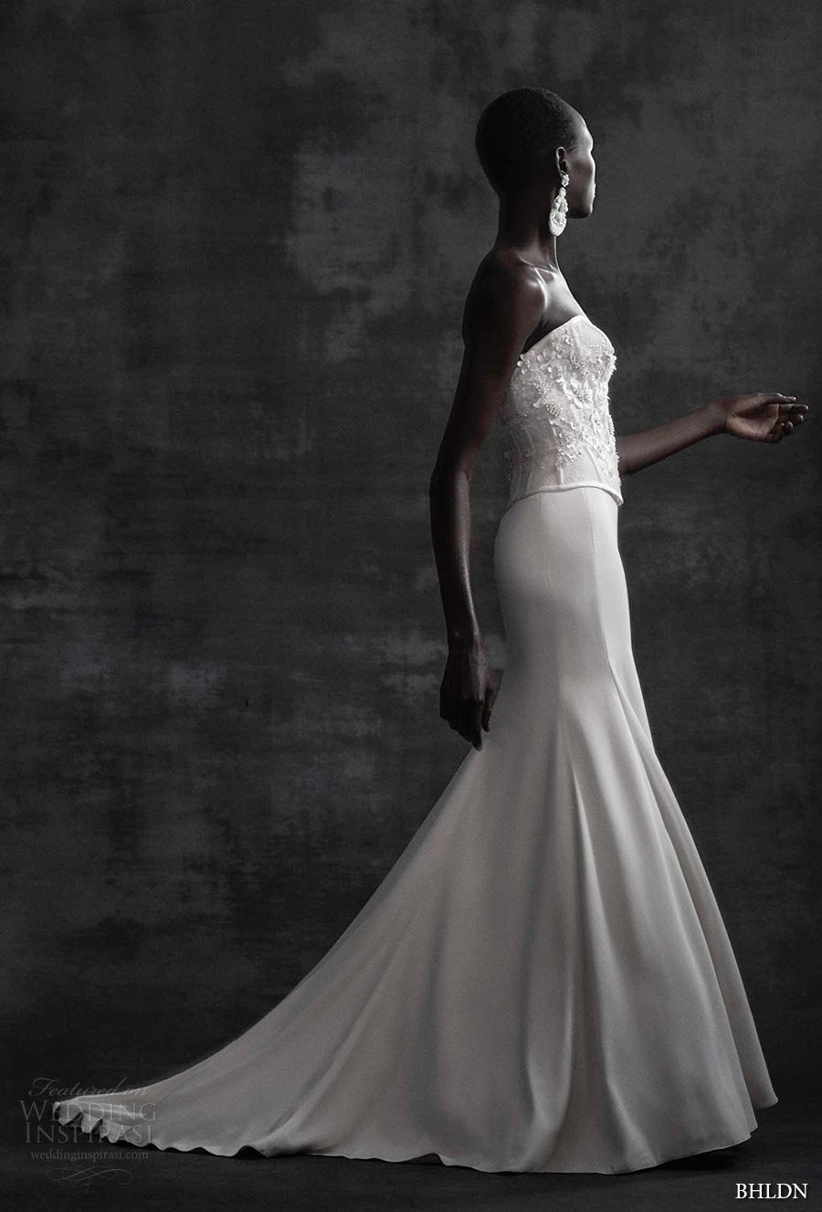 bhldn spring 2017 bridal strapless sweetheart neckline heavily embellished bodice corset elegant column wedding dress sweep train (maryna corset sade skirt) sdv