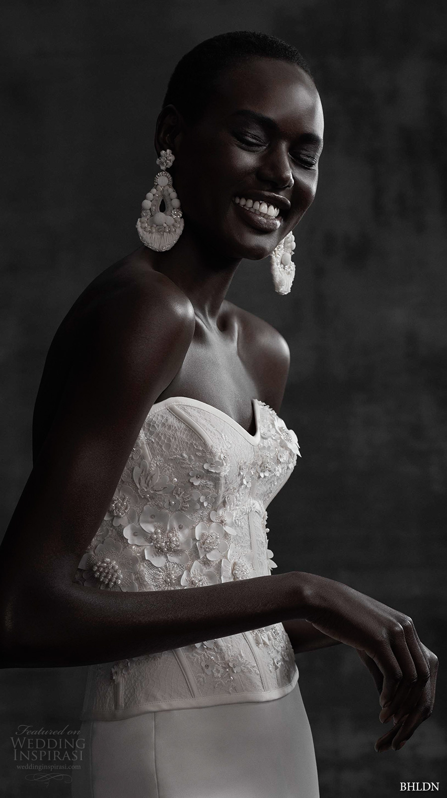bhldn spring 2017 bridal strapless sweetheart neckline heavily embellished bodice corset elegant column wedding dress sweep train (maryna corset sade skirt) zv