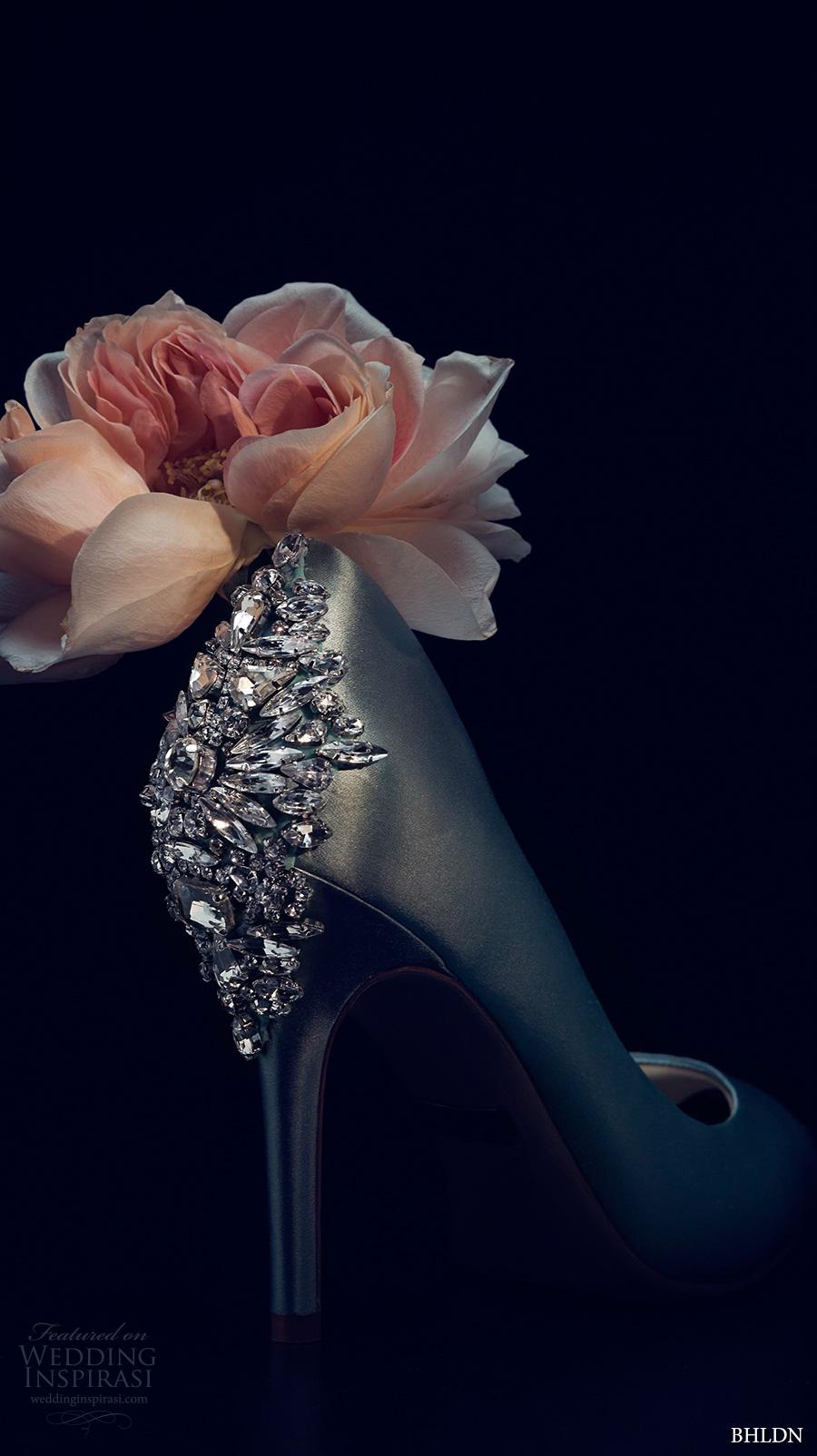 bhldn spring 2017 bridal wedding acessories green color peep toe high heels weding shoes (bella crystal)